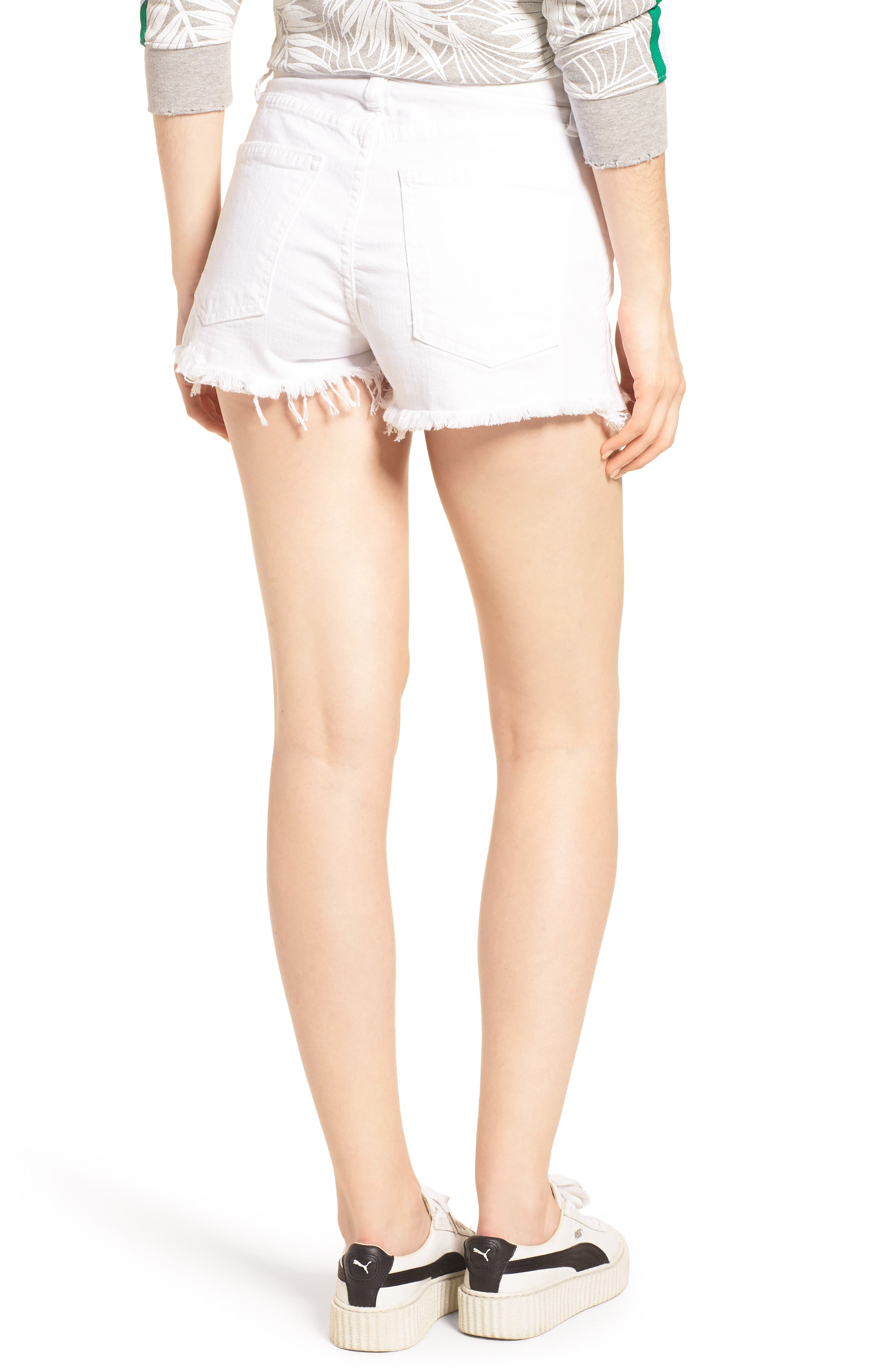 The Ultra High Waist Cutoff Denim Shorts,                             Alternate thumbnail 2, color,                             Sugar W/ Mishap Hem