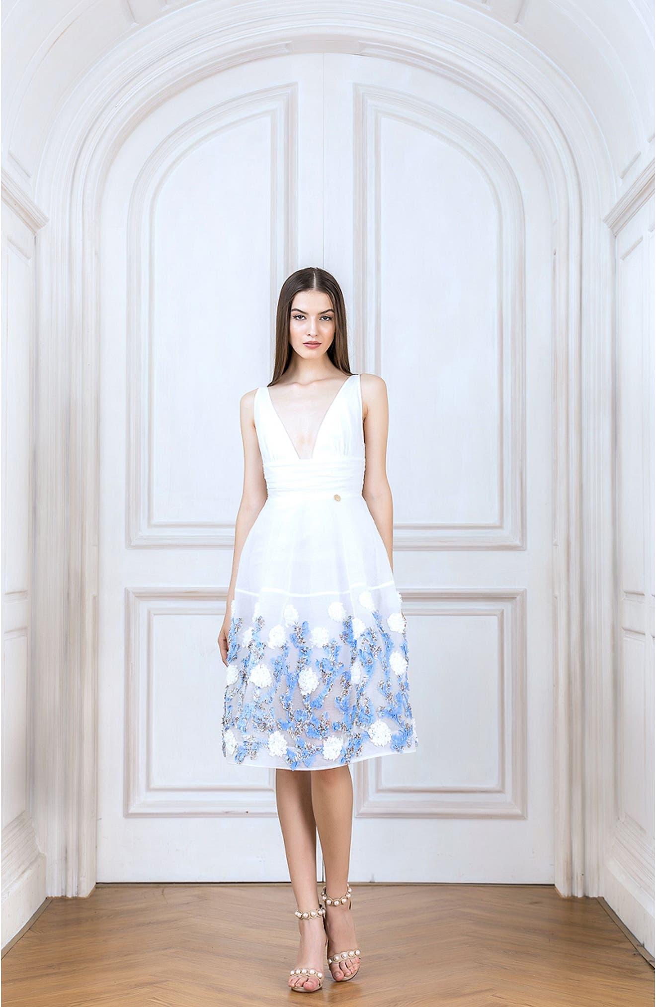 Malvina Embroidered Hem Fit & Flare Dress,                             Alternate thumbnail 6, color,