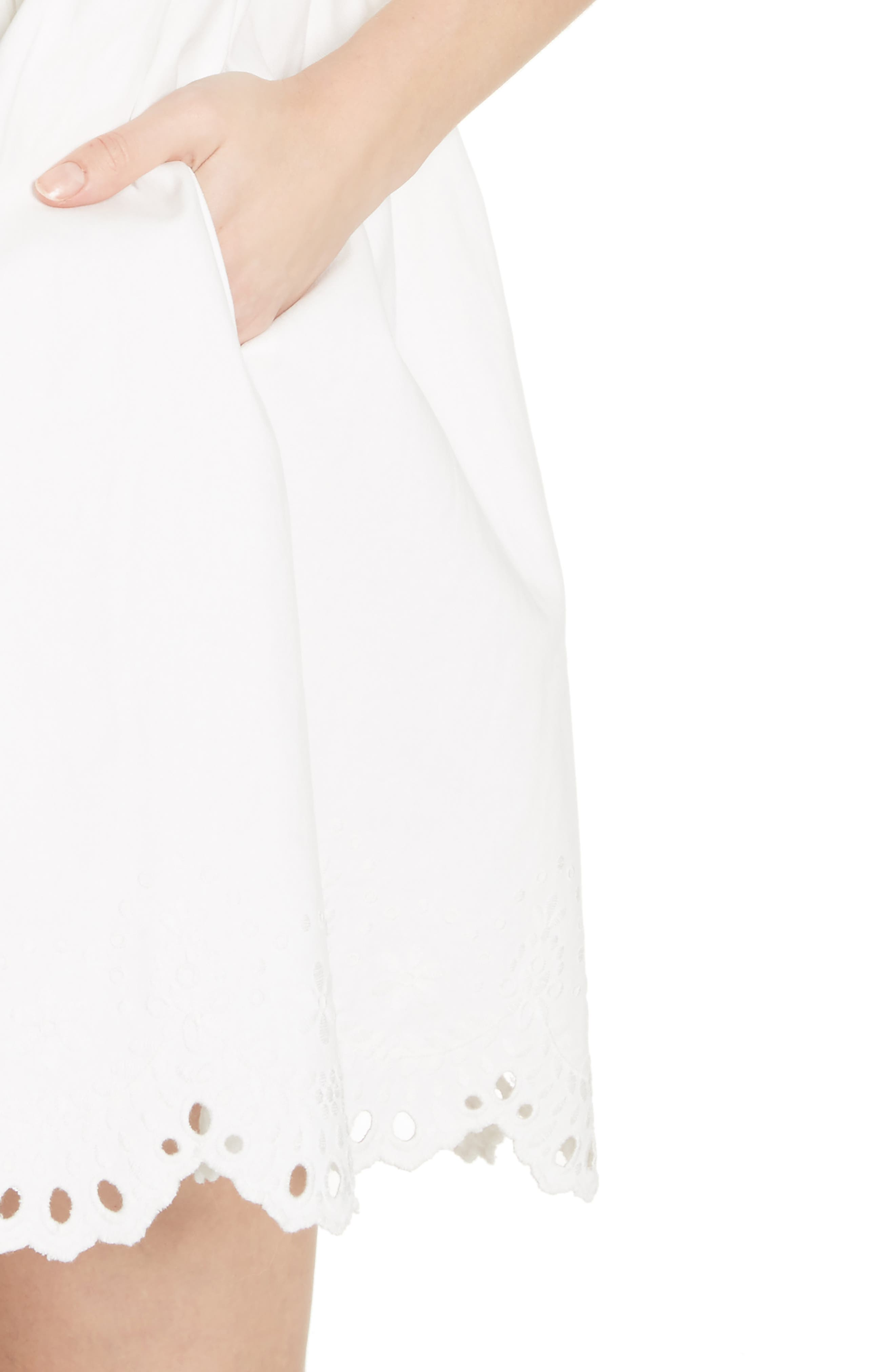 cutwork denim shirtdress,                             Alternate thumbnail 4, color,                             White