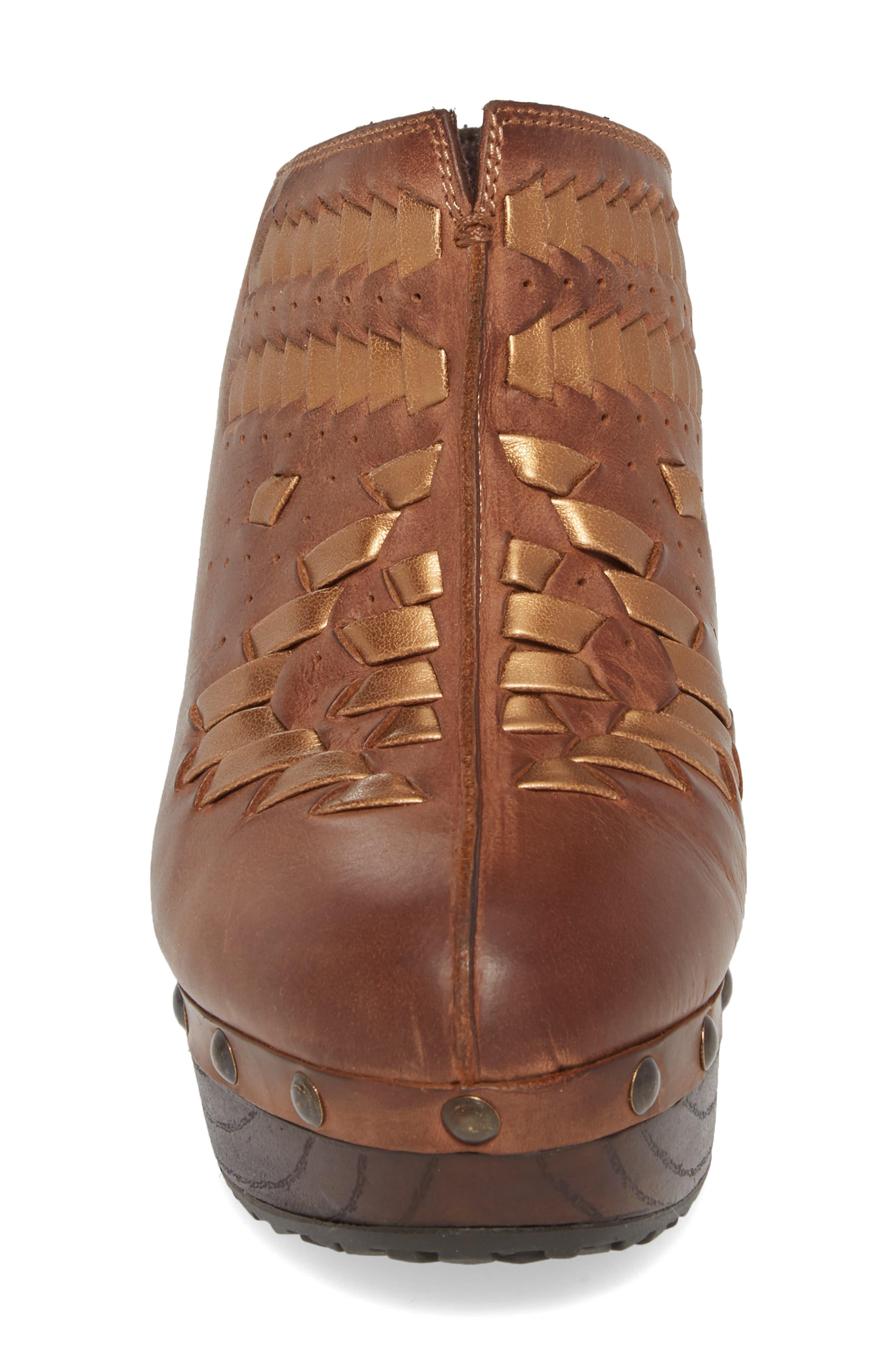 Bria Platform Clog,                             Alternate thumbnail 4, color,                             Bronzed Brown Leather