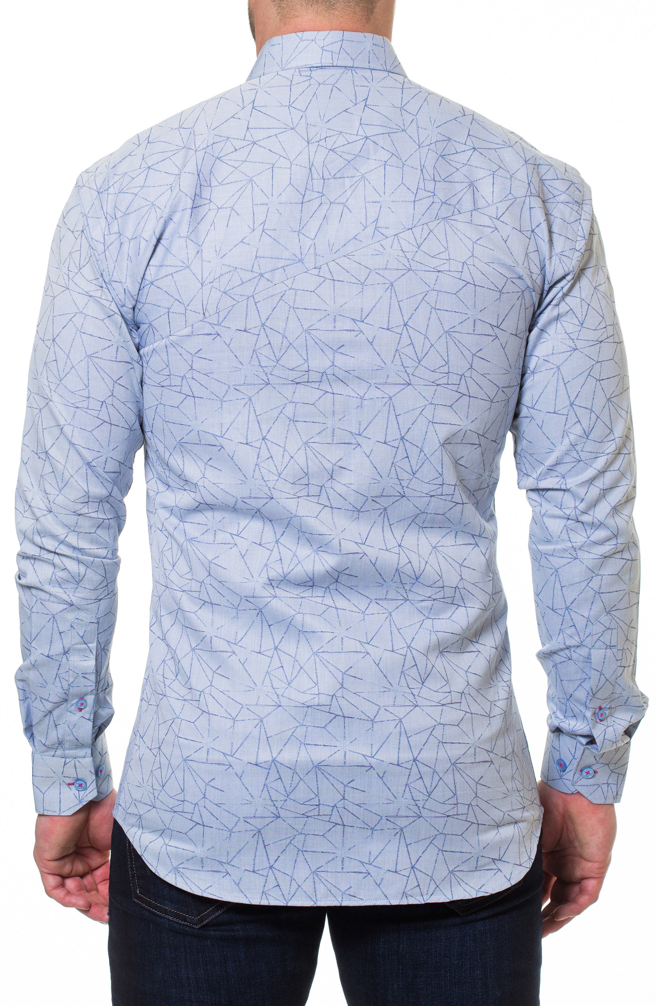 Wall Street Dimension Print Sport Shirt,                             Alternate thumbnail 2, color,                             Grey