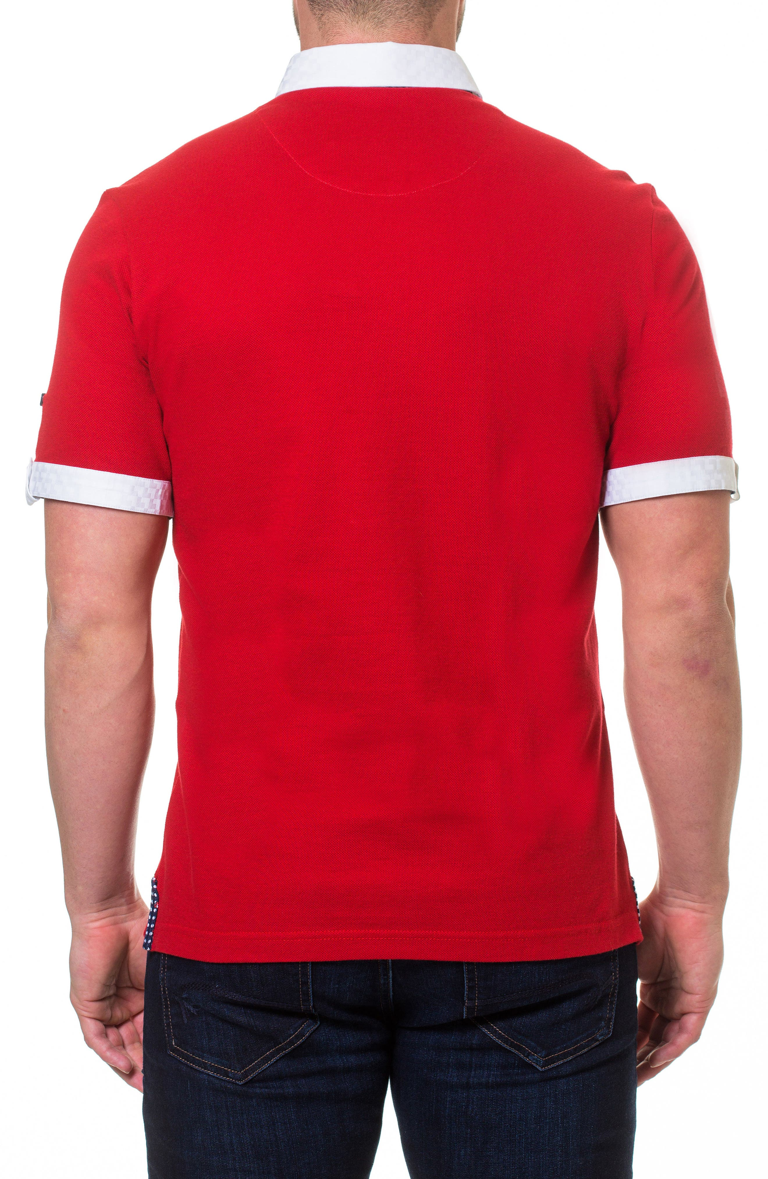 Woven Trim Polo,                             Alternate thumbnail 2, color,                             Red