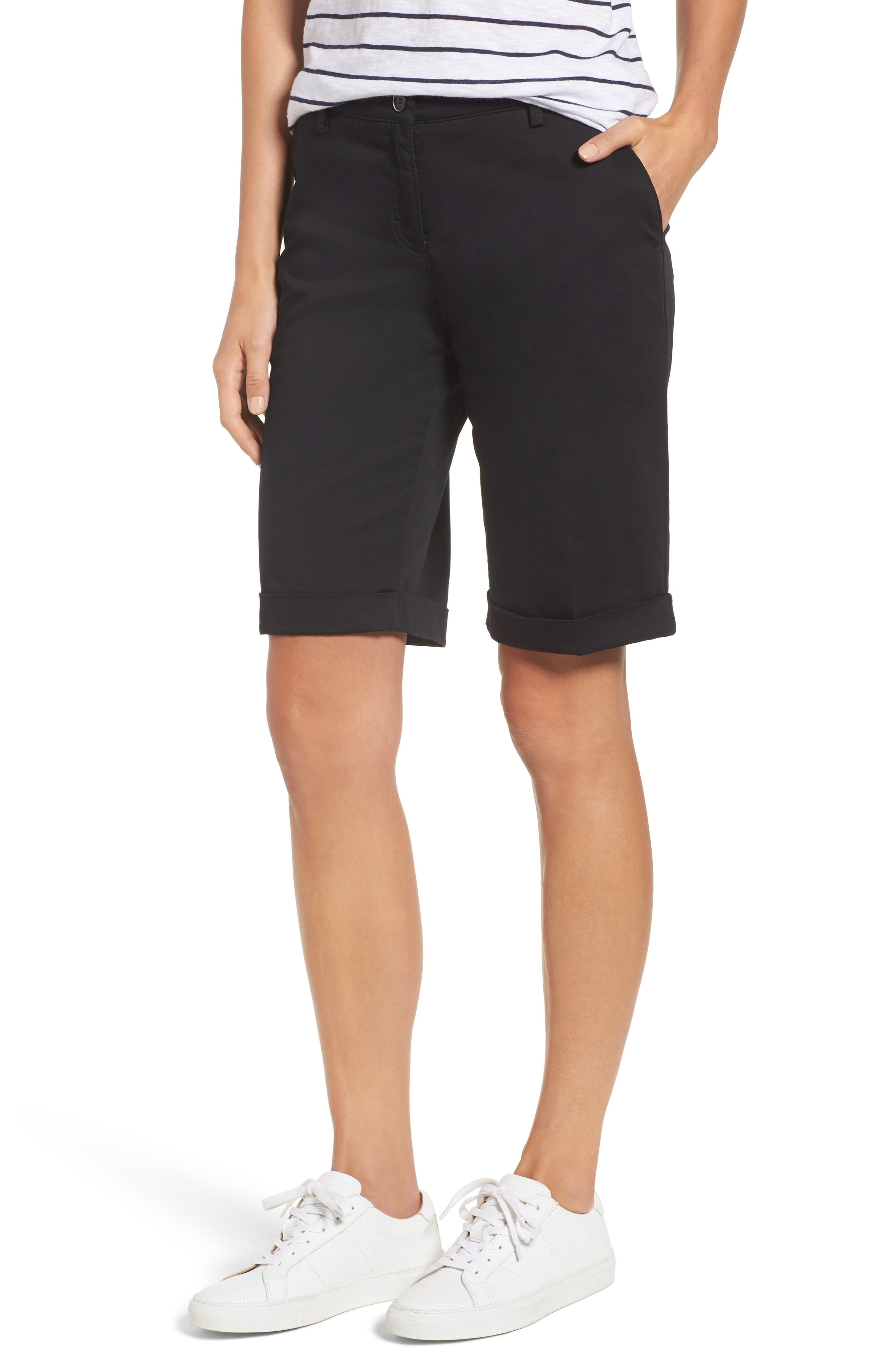 Stretch Cotton Cuff Bermuda Shorts,                             Main thumbnail 1, color,                             Perma Black