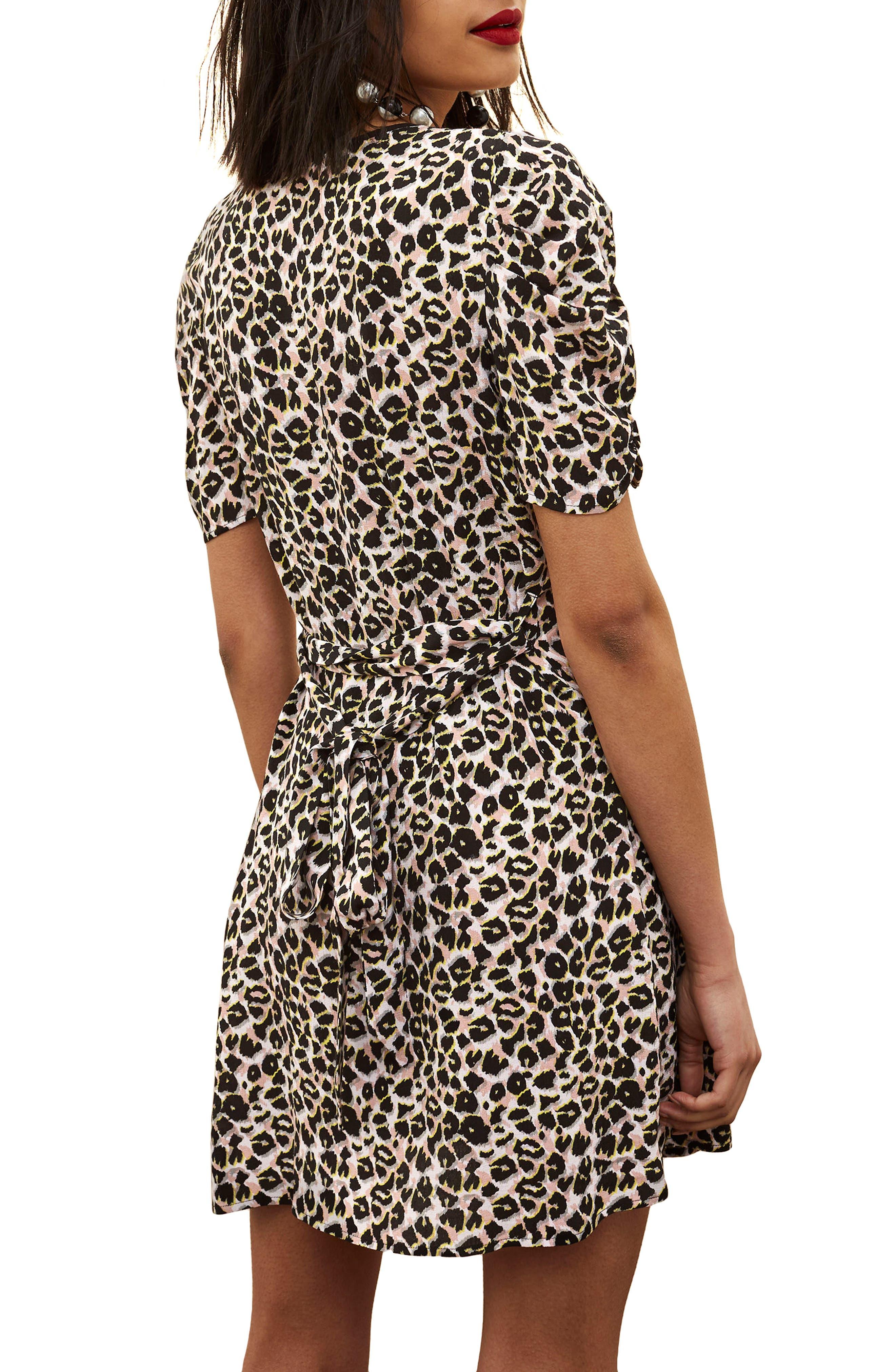 Leopard Wrap Minidress,                             Alternate thumbnail 3, color,                             Brown Multi