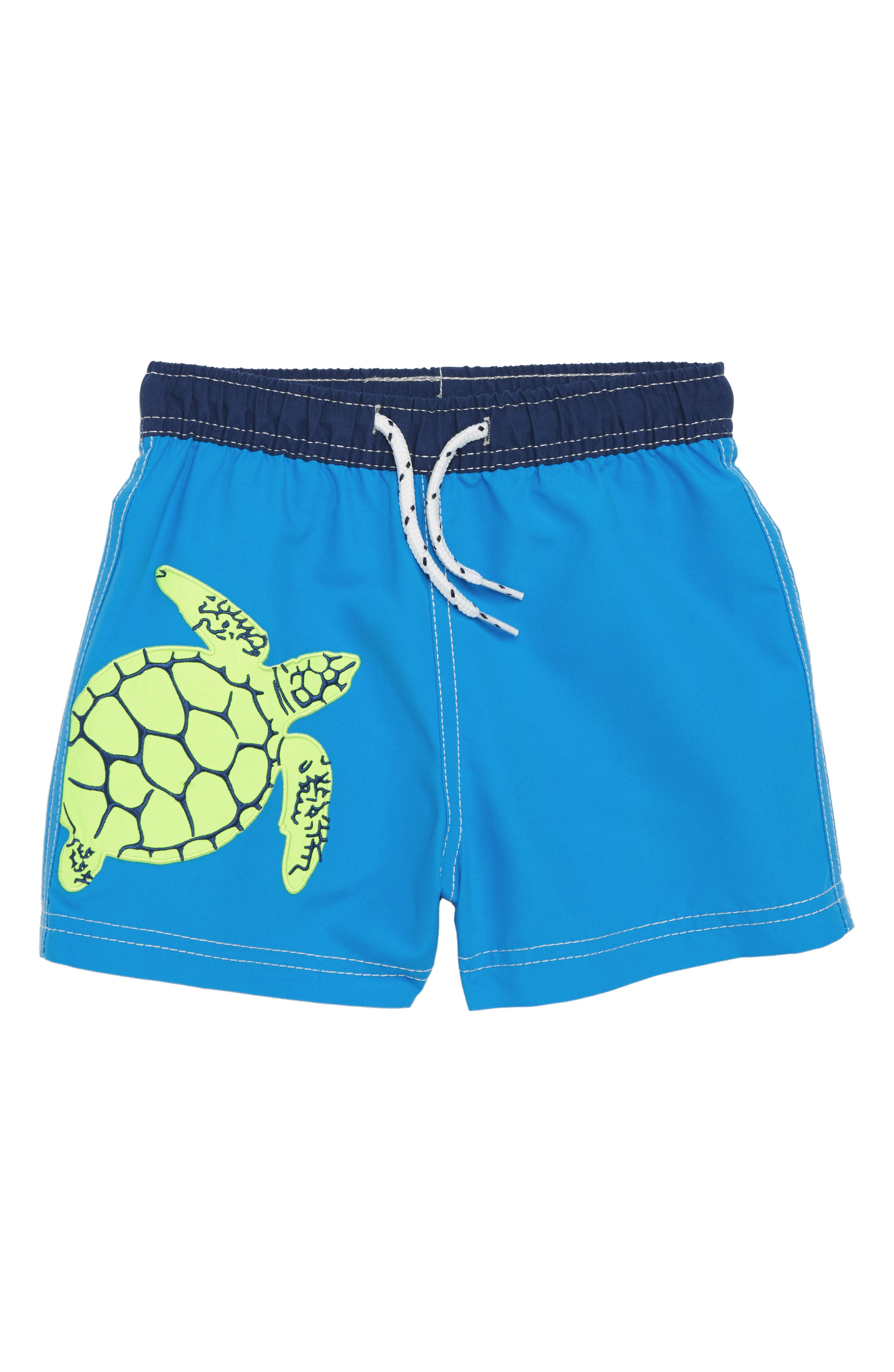 Embroidered Turtle Swim Trunks,                             Main thumbnail 1, color,                             Acid Yellow Turtle