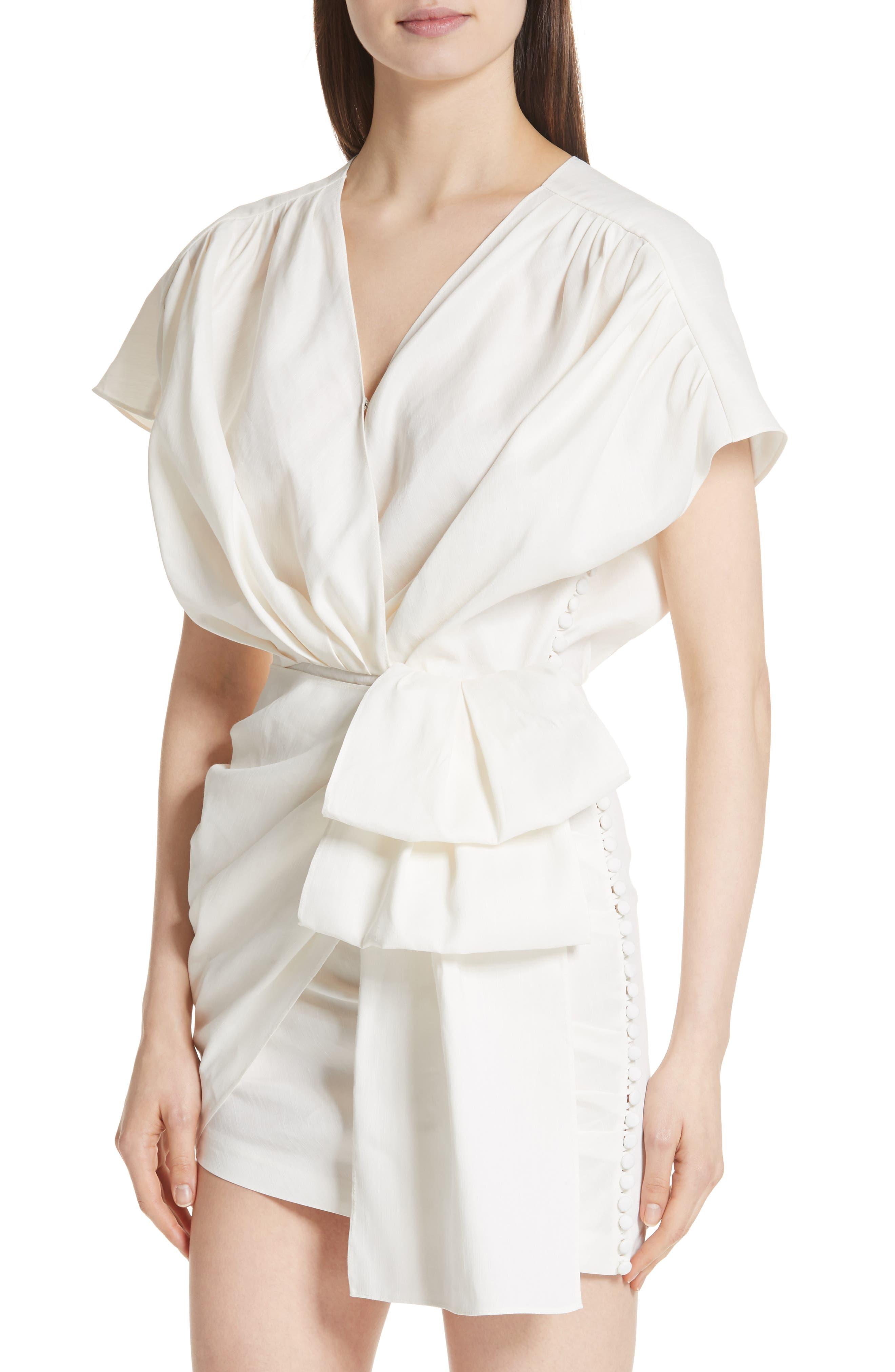 Gathered Linen Blend Dress,                             Alternate thumbnail 4, color,                             White