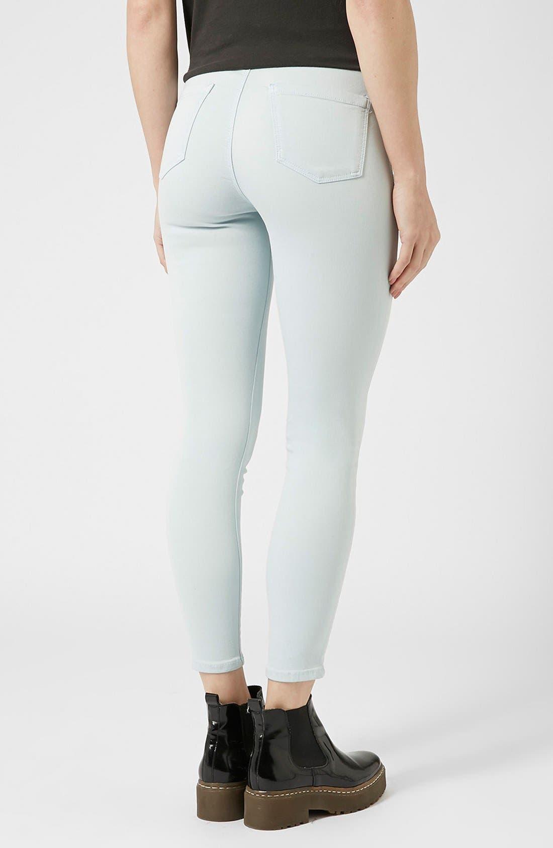 Alternate Image 2  - Topshop Moto 'Joni' High Rise Jeans (Light Blue) (Regular & Short)