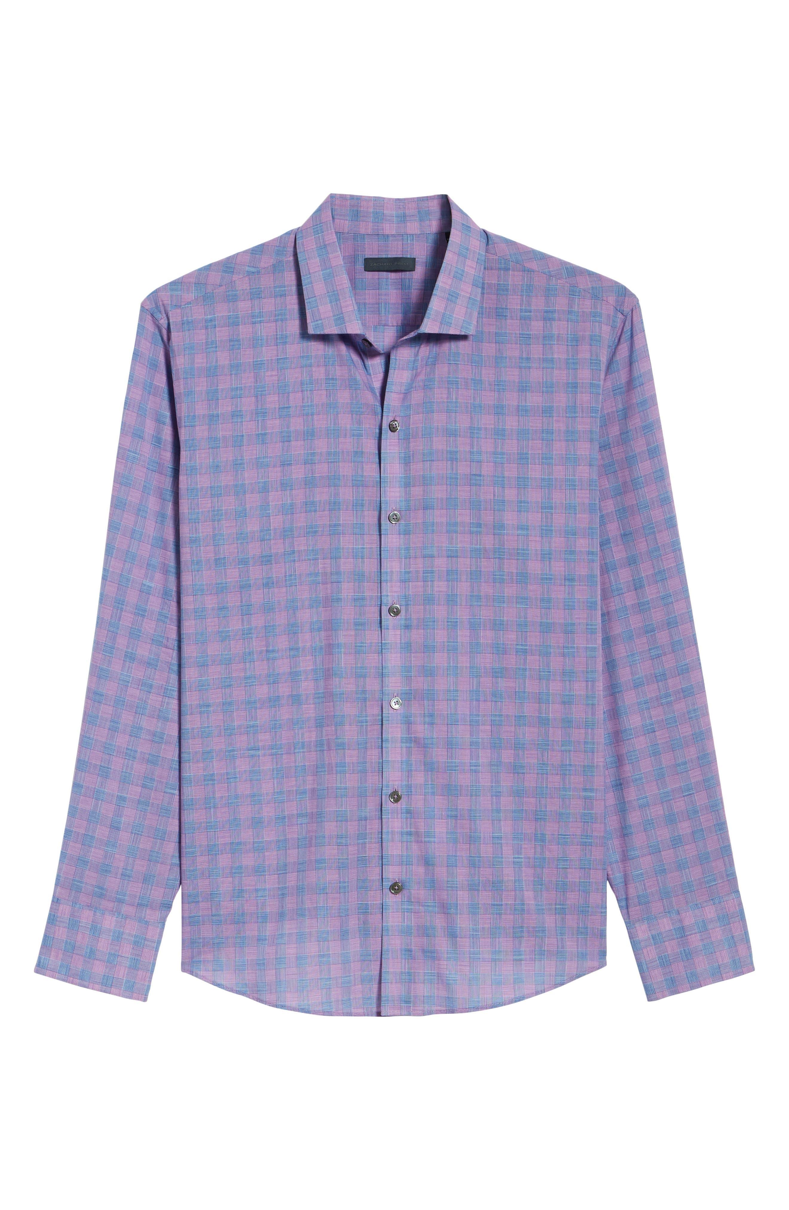 Schwantes Plaid Sport Shirt,                             Alternate thumbnail 6, color,                             Purple