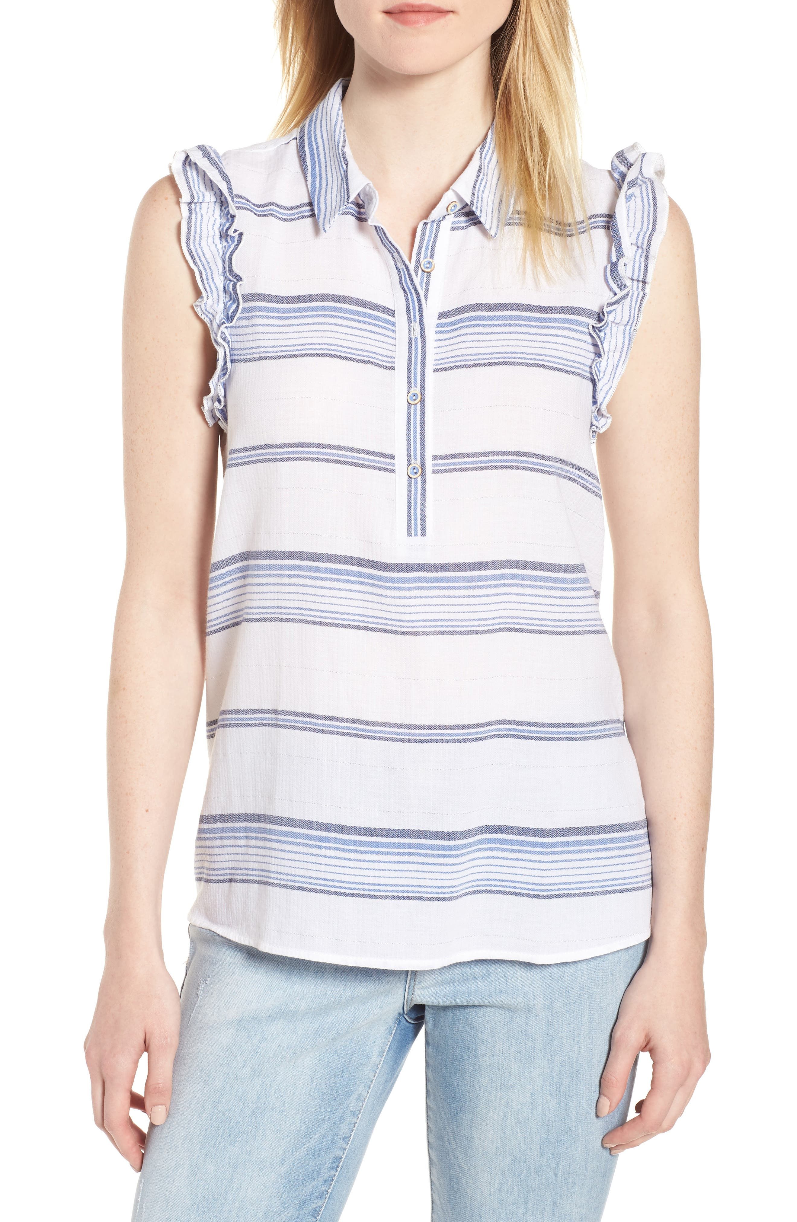 Ruffled Sleeve Striped Top,                             Main thumbnail 1, color,                             Blue/ White