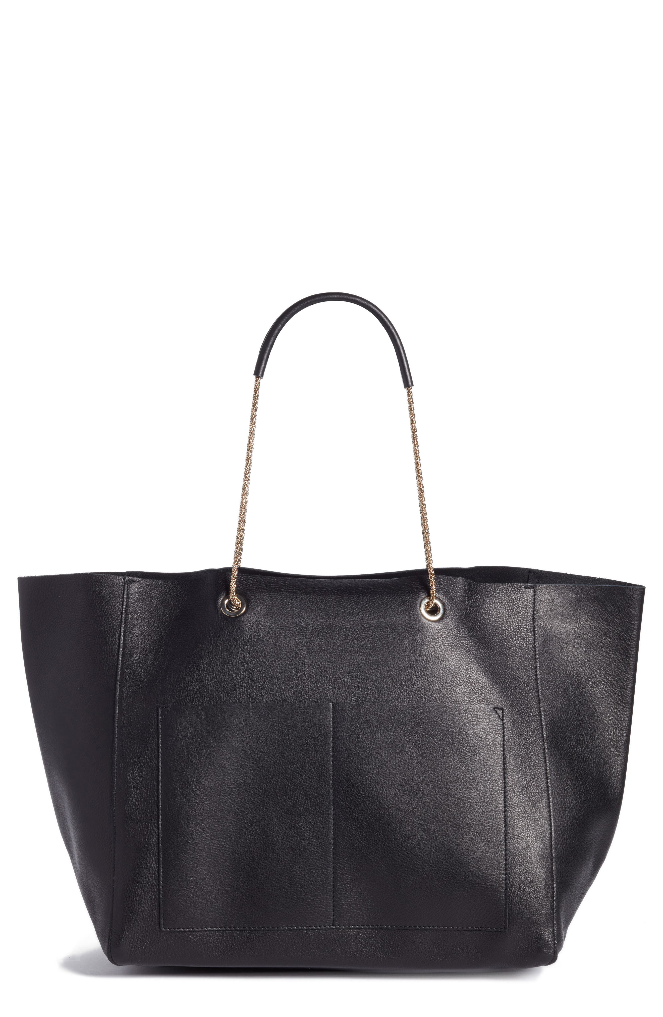 Gaby Leather Tote,                         Main,                         color, Black