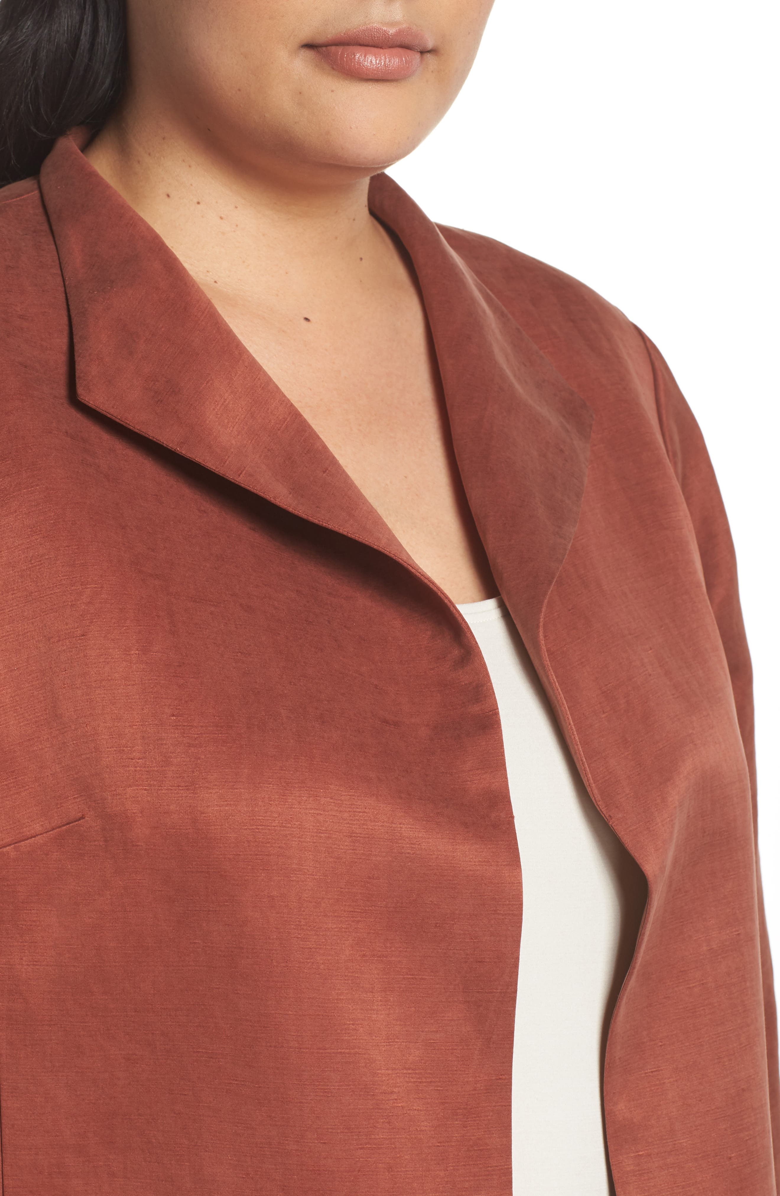 Alternate Image 4  - Eileen Fisher Linen & Silk High Collar Coat (Plus Size)
