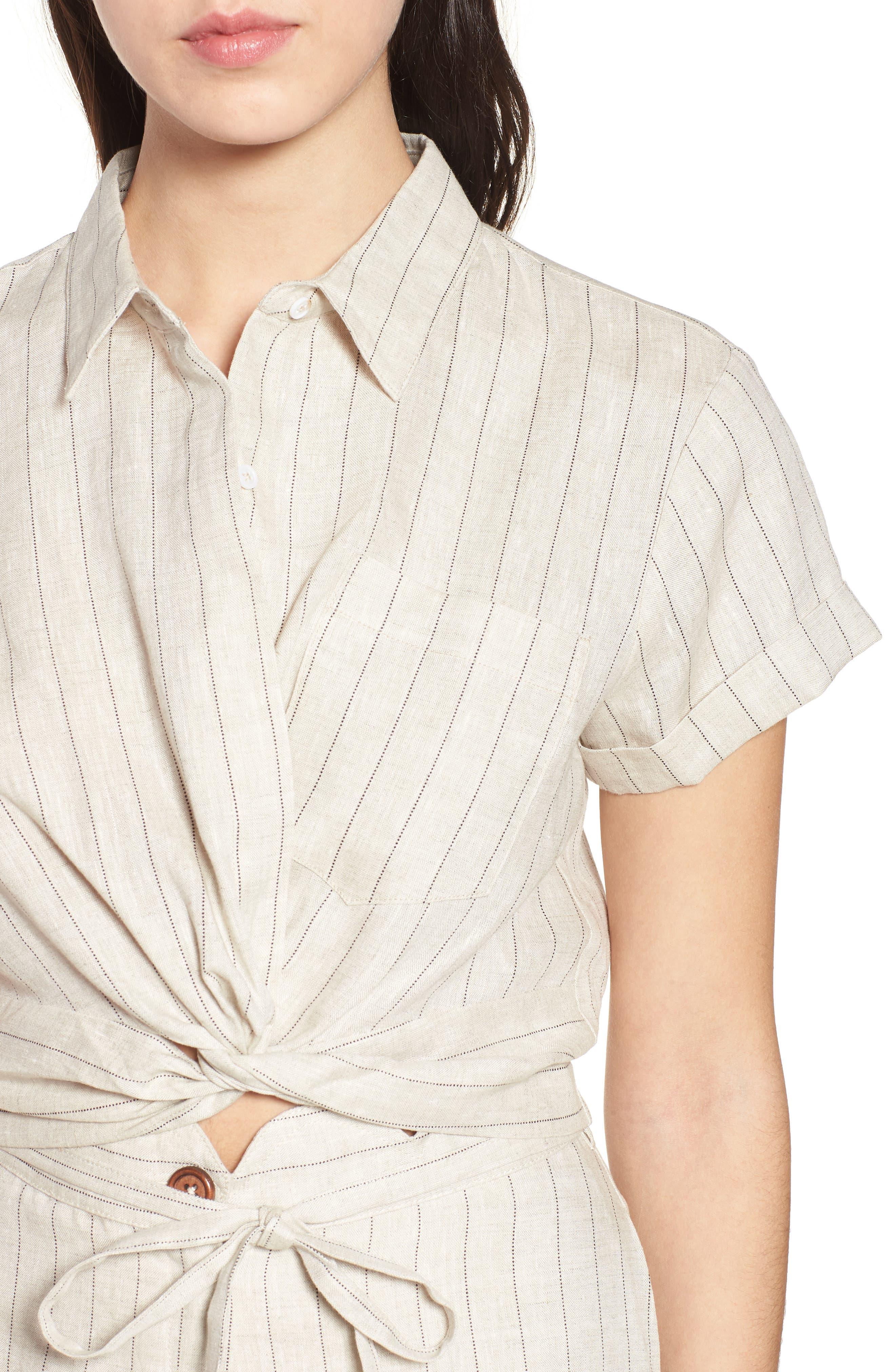 Linen Twist Hem Crop Top,                             Alternate thumbnail 6, color,                             Beige Stripe