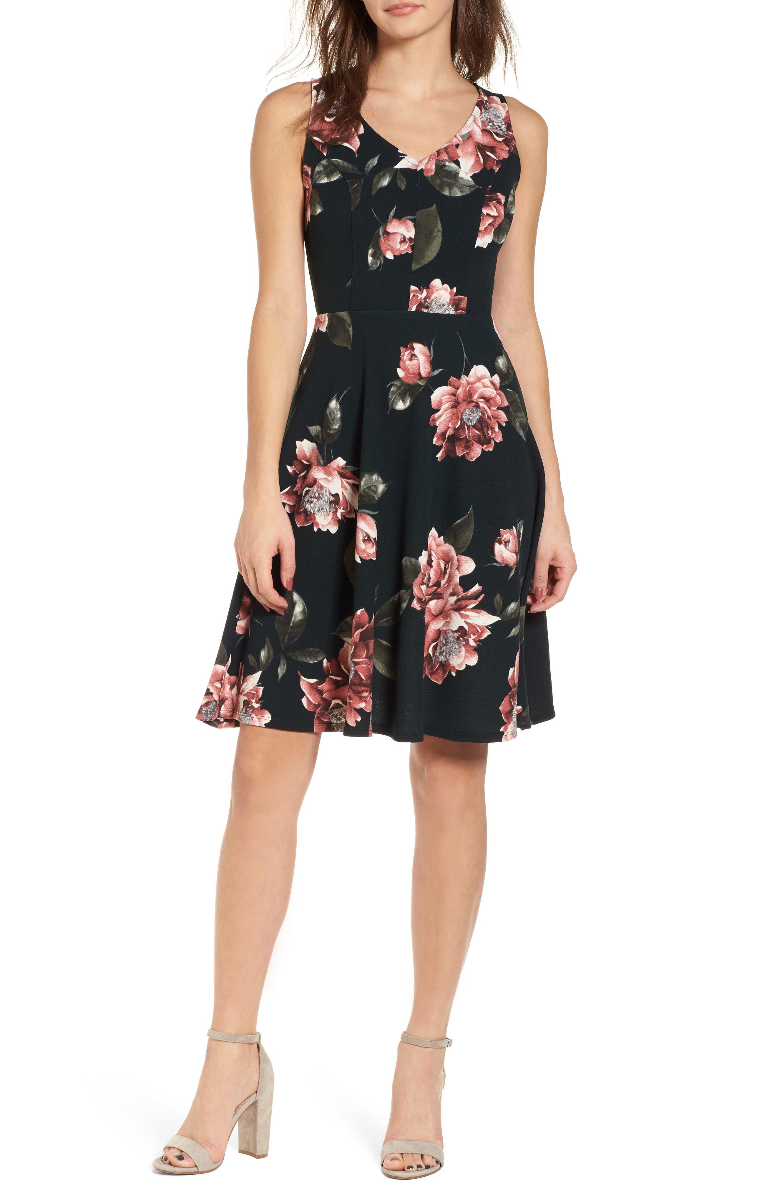 Floral Print Fit & Flare Dress,                         Main,                         color, Pine