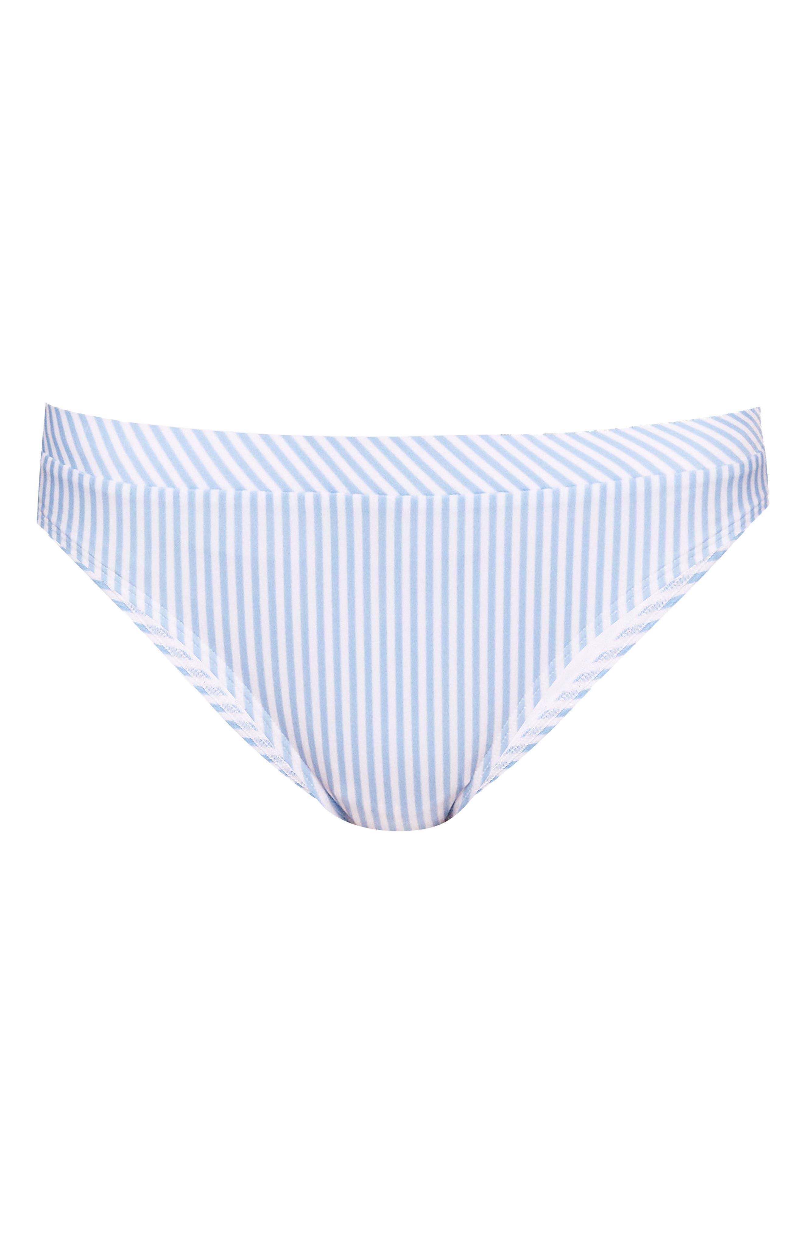 Stripe Bikini Bottoms,                             Alternate thumbnail 4, color,                             Pale Blue