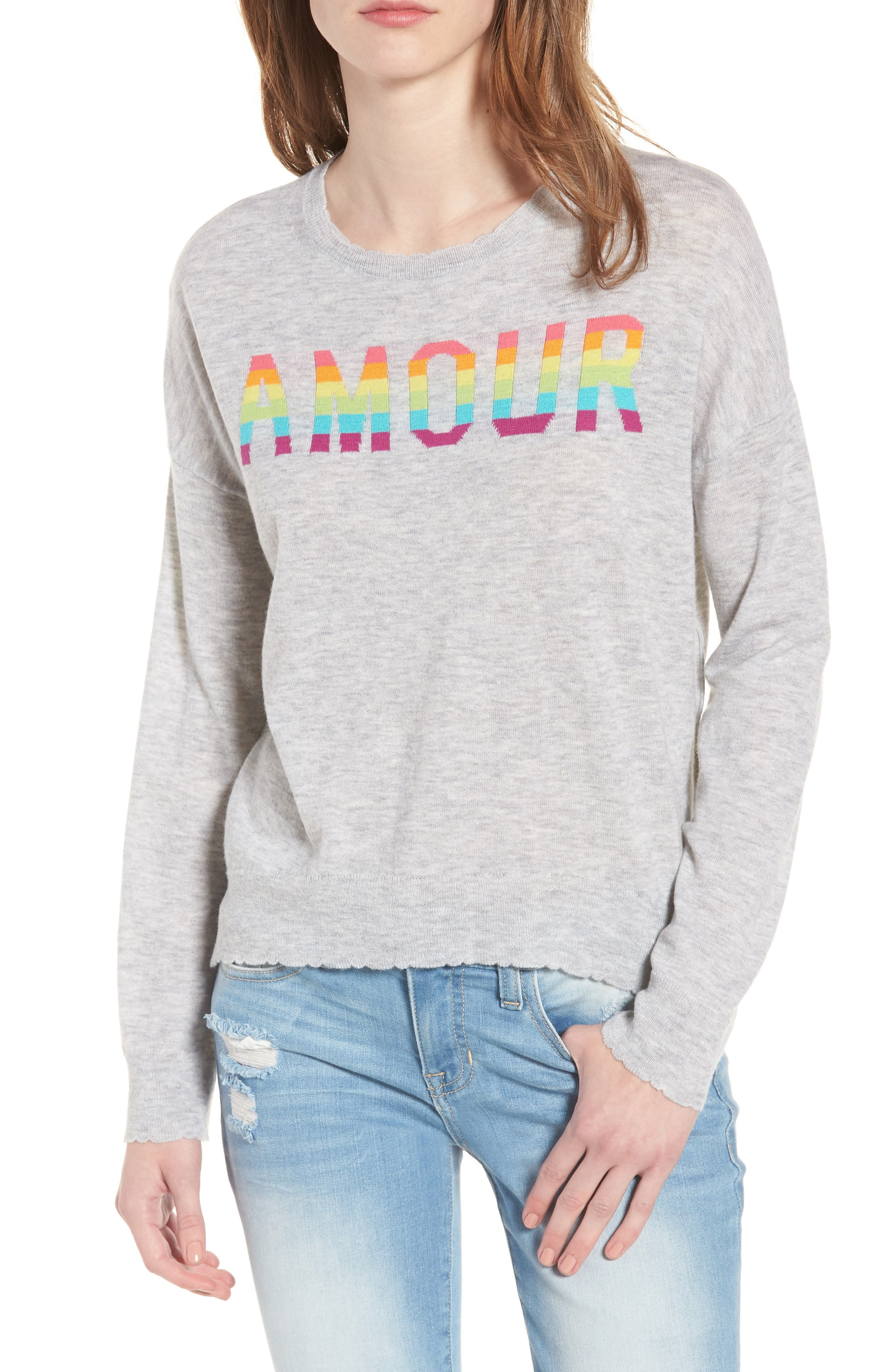 Amour Wool & Cashmere Sweater,                         Main,                         color, Heather Grey