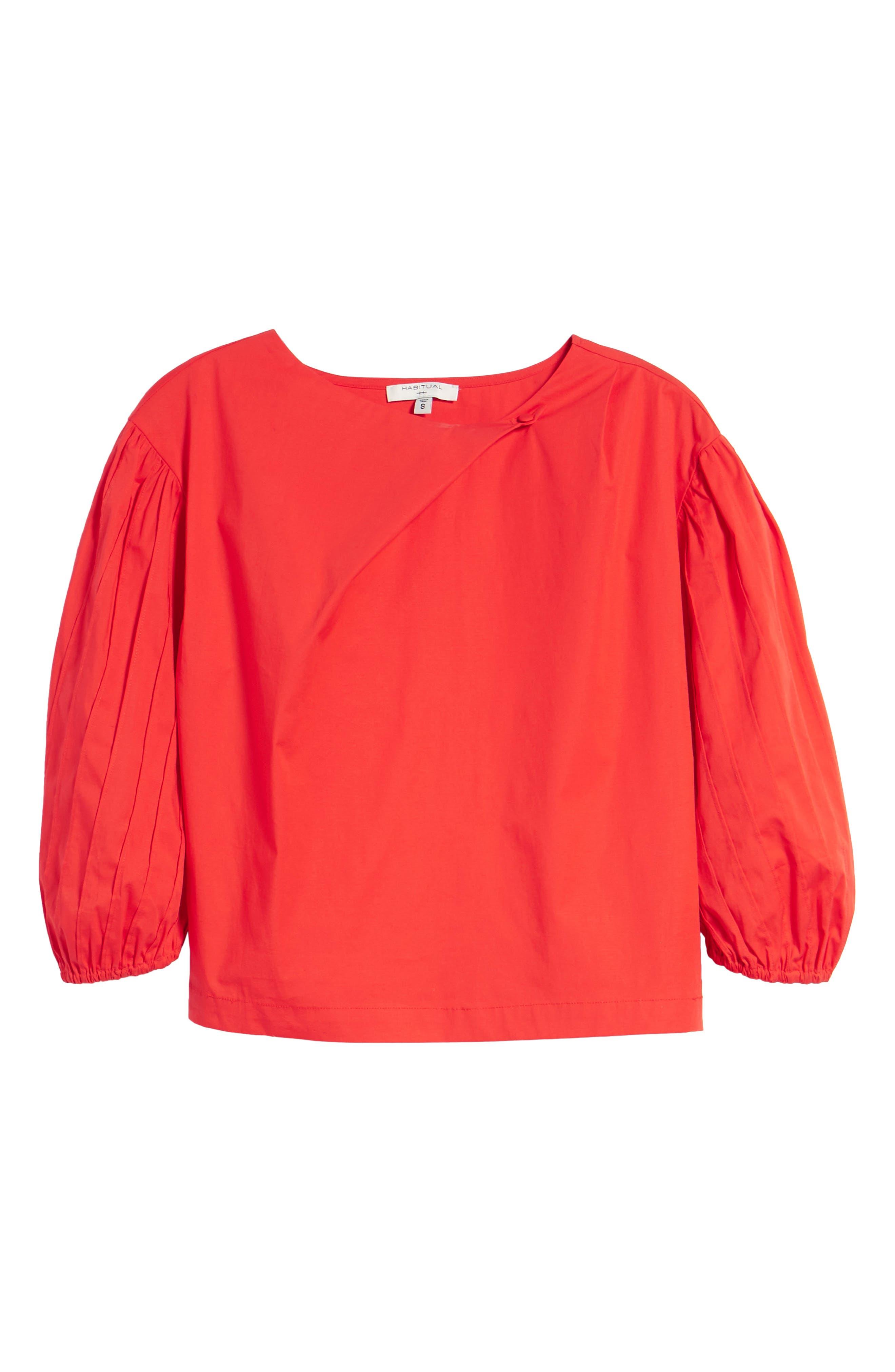 Leah Blouson Sleeve Top,                             Alternate thumbnail 7, color,                             Fiery Red