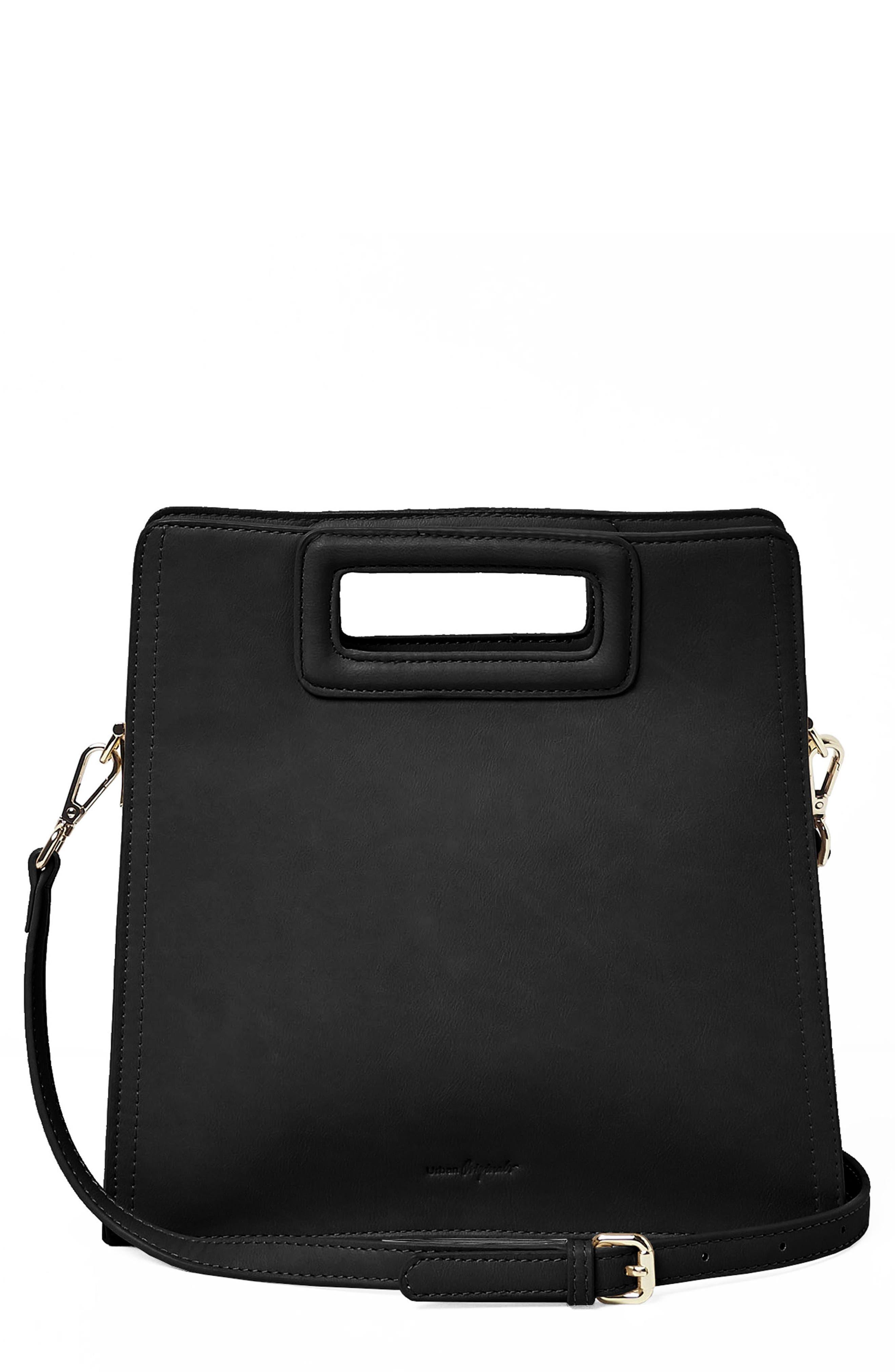 Perfect World Vegan Leather Crossbody Bag,                             Main thumbnail 1, color,                             Black