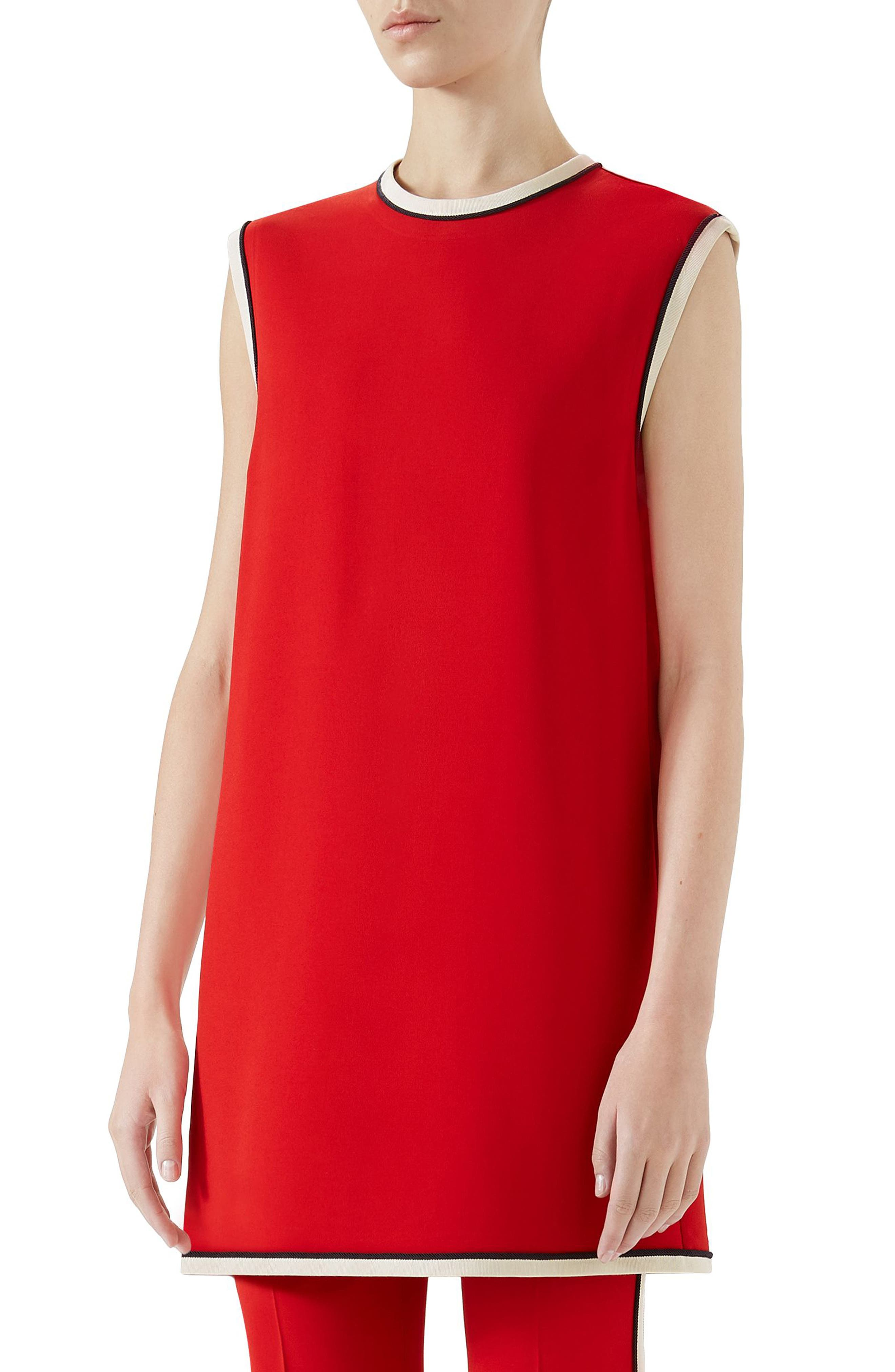 Stretch Cady Tunic Top,                         Main,                         color, Red
