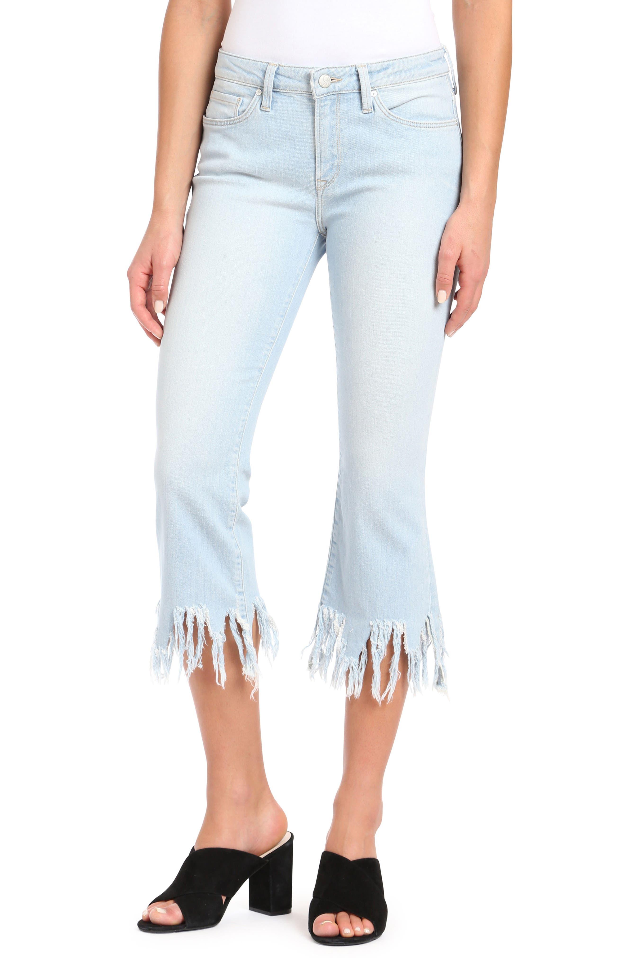 Anika Frayed Hem Cropped Jeans,                         Main,                         color, Bleach Vintage