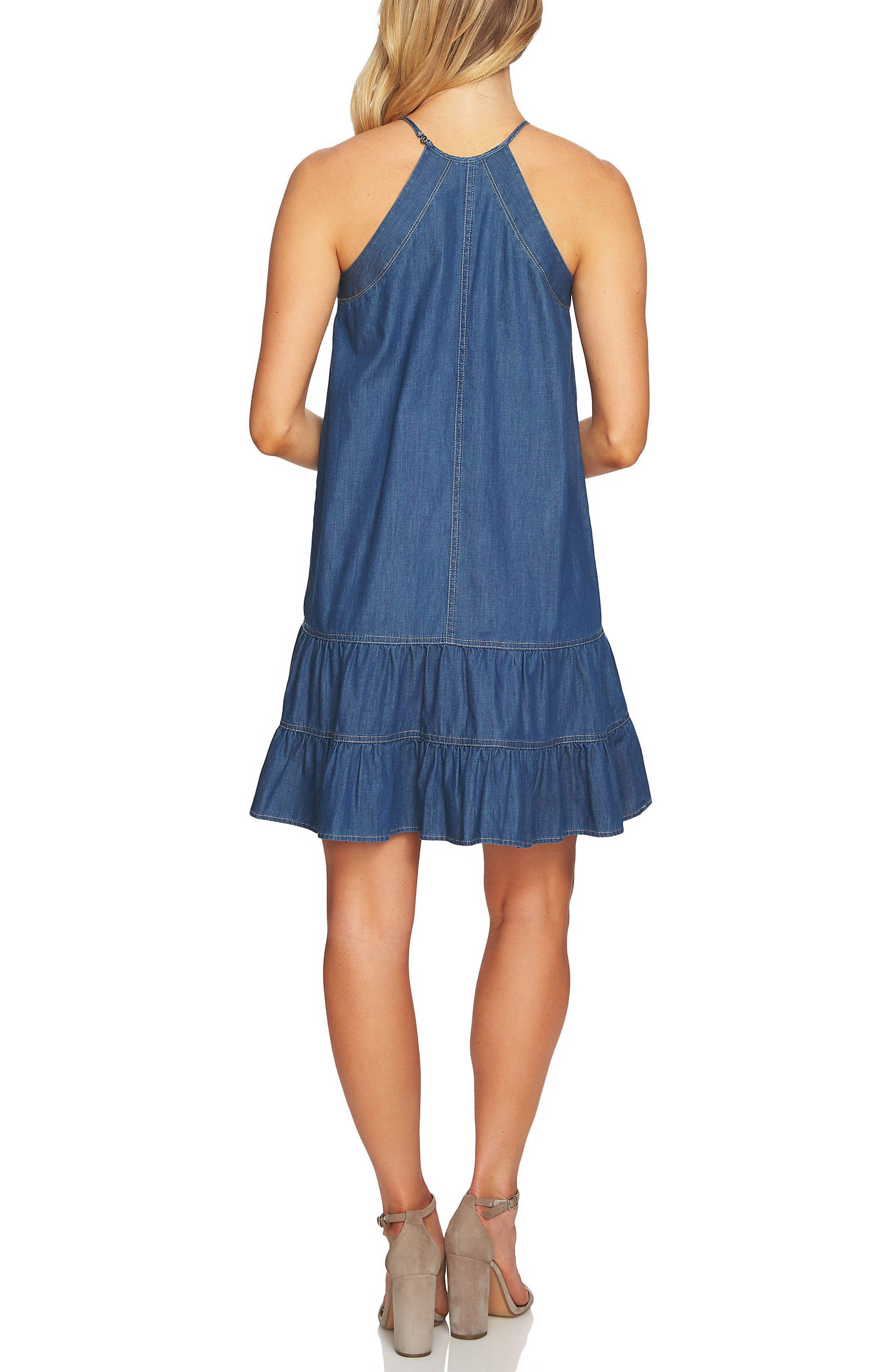 Denim Halter Dress,                             Alternate thumbnail 2, color,                             Authentic
