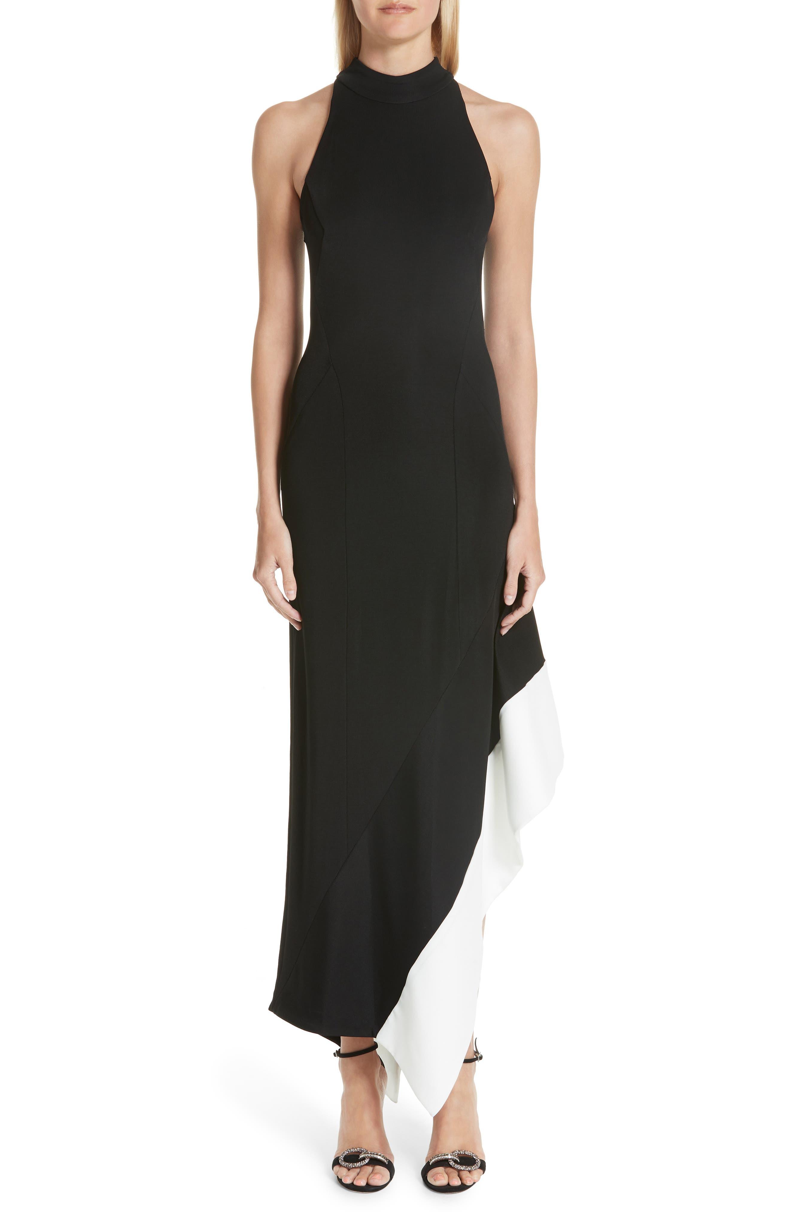 Colorblock Asymmetrical Gown,                         Main,                         color, Black W/ White