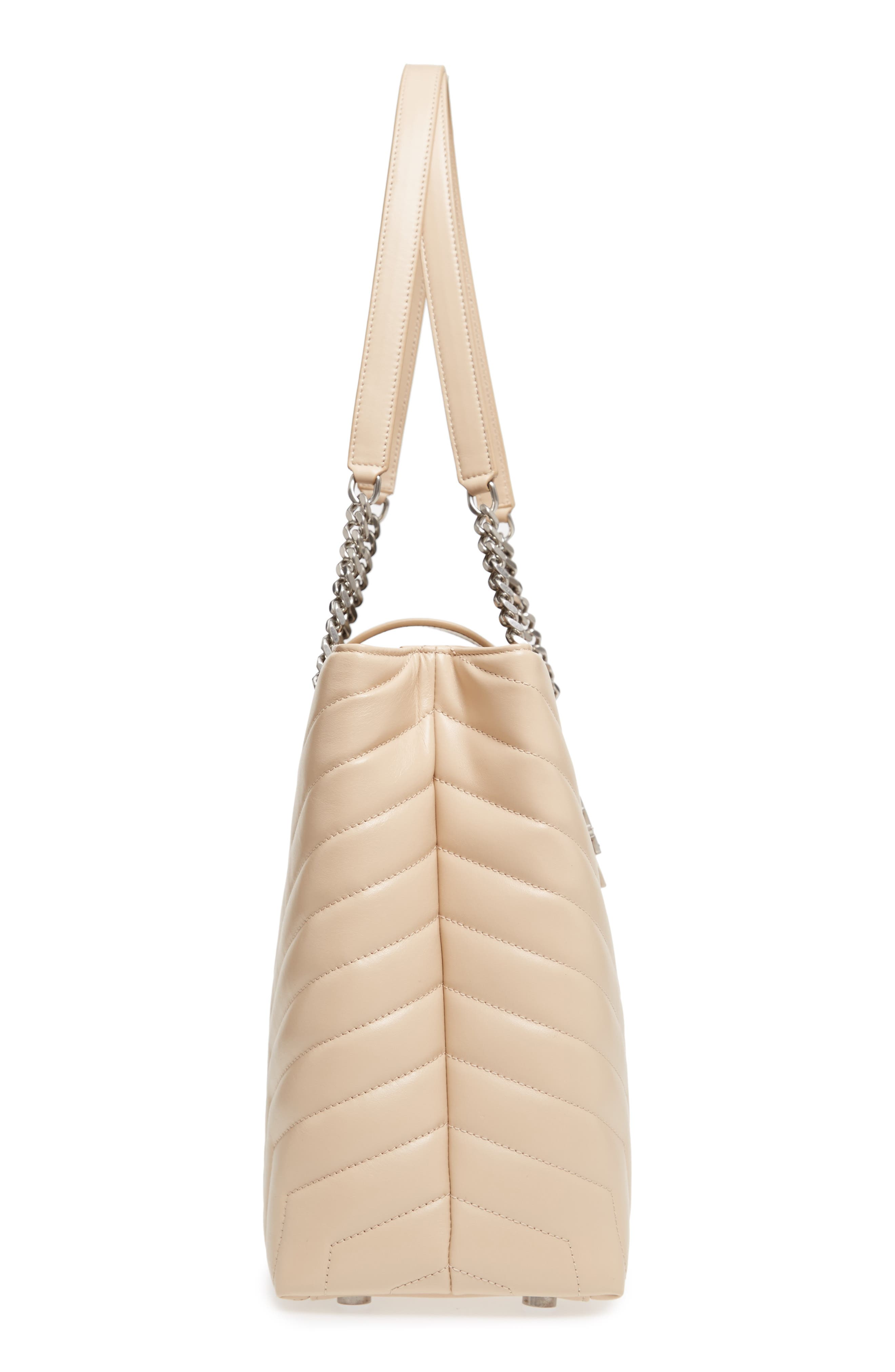 Large Loulou Matelassé Leather Shopper,                             Alternate thumbnail 5, color,                             Nude Powder/ Nude Powder