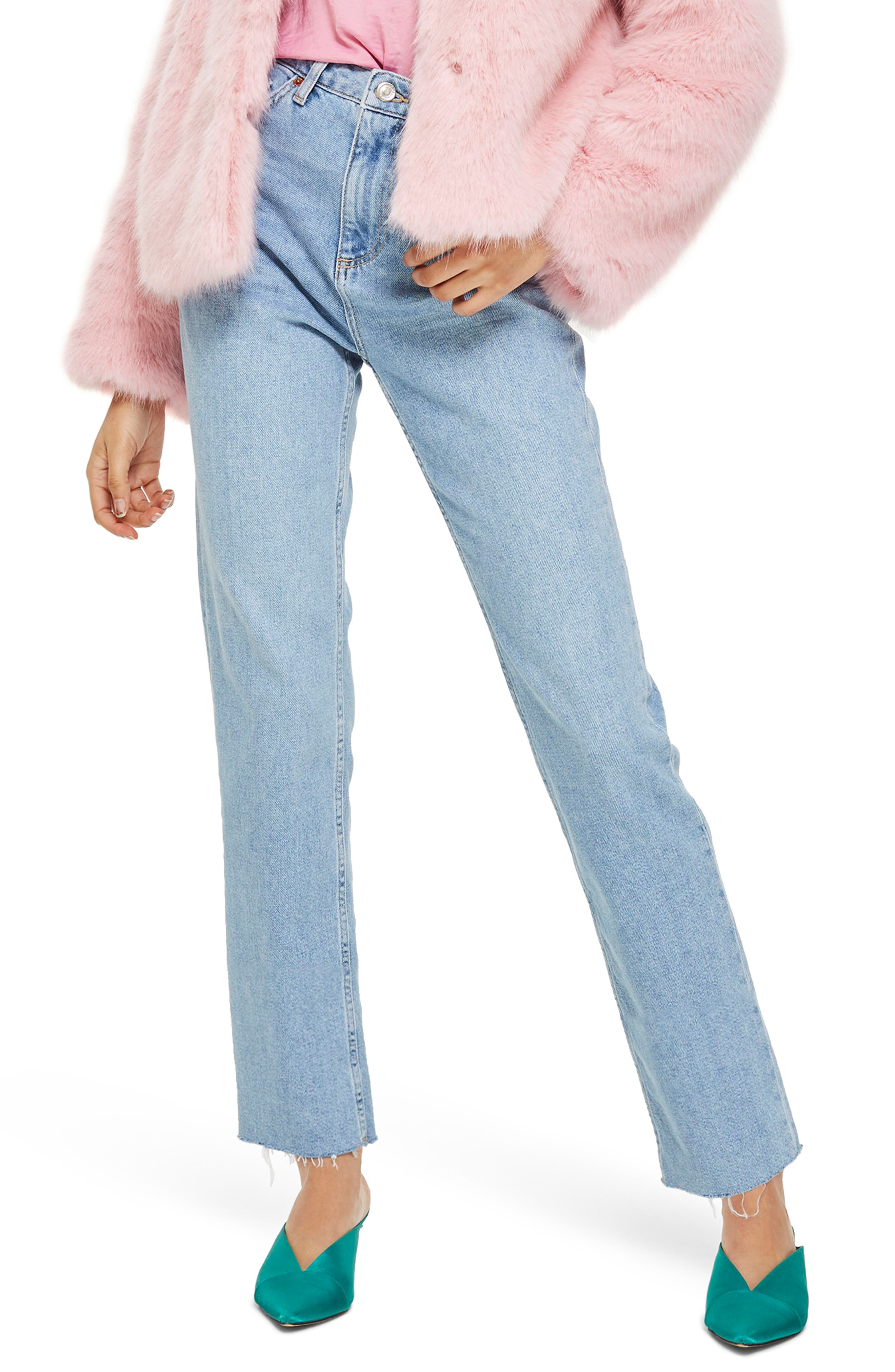 Topshop Raw Hem Straight Leg Jeans (Bleach Stone)