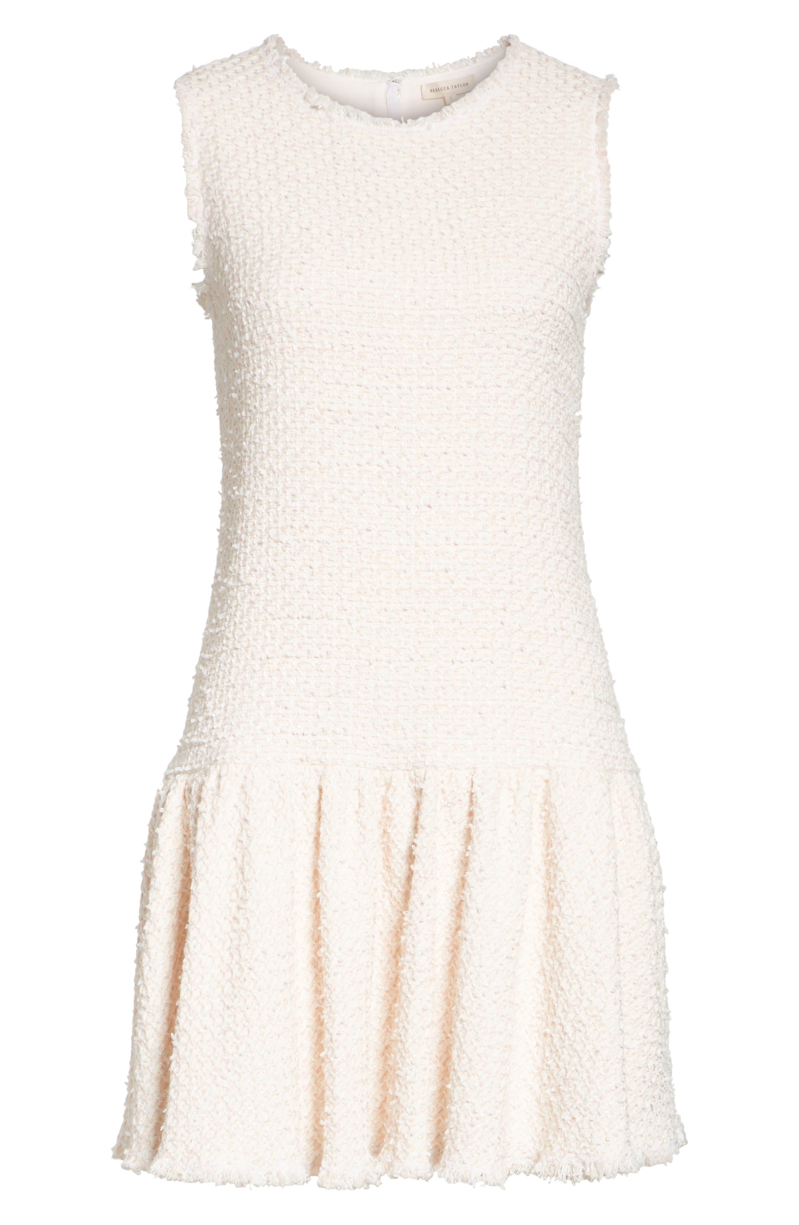 Drop Waist Tweed Dress,                             Alternate thumbnail 6, color,                             Powder Pink