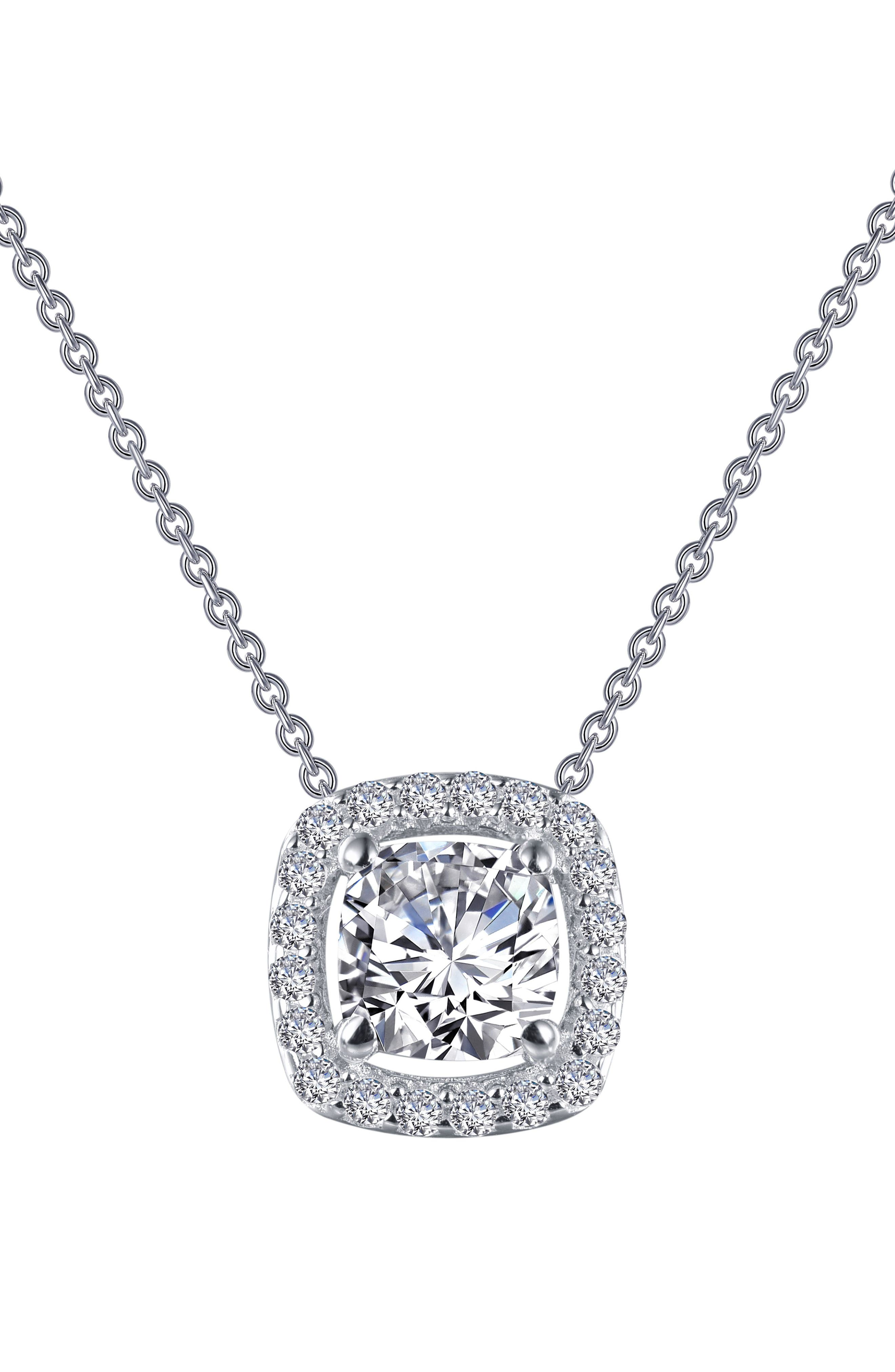Cushion Cut Halo Necklace,                             Alternate thumbnail 3, color,                             Silver/ Clear