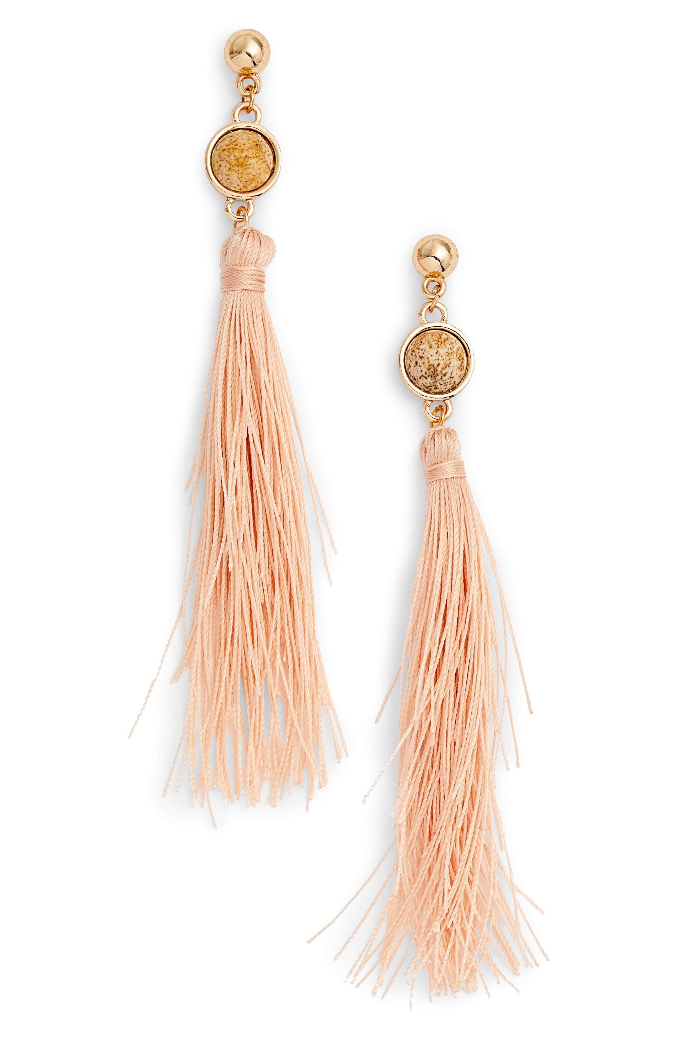 Strawberry Fields Jasper Tassel Earrings,                             Main thumbnail 1, color,                             Pink/ Gold