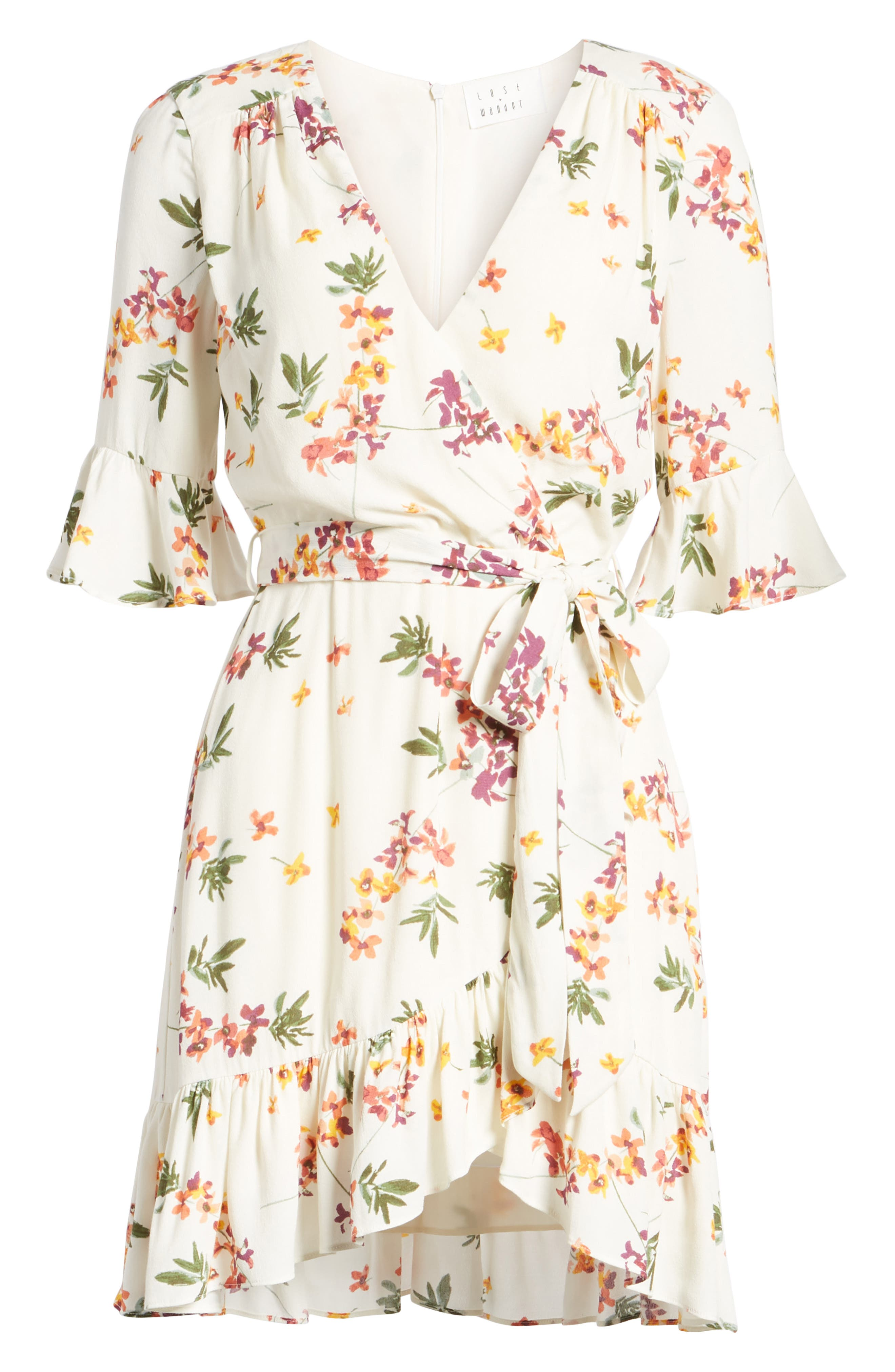 Regina Floral Wrap Minidress,                             Alternate thumbnail 8, color,                             Creme Multi