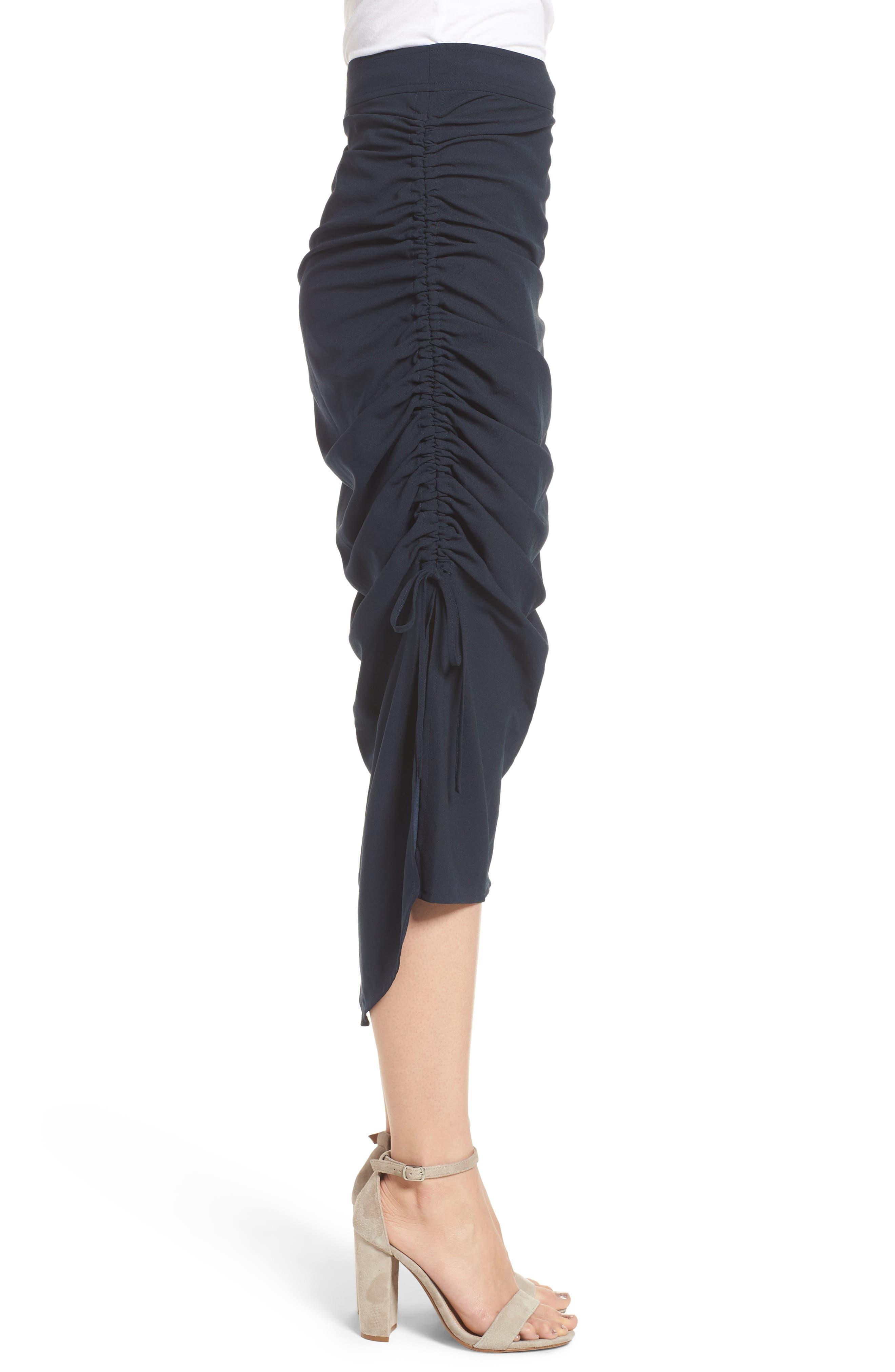 Side Shirred Skirt,                             Alternate thumbnail 3, color,                             Navy Sapphire