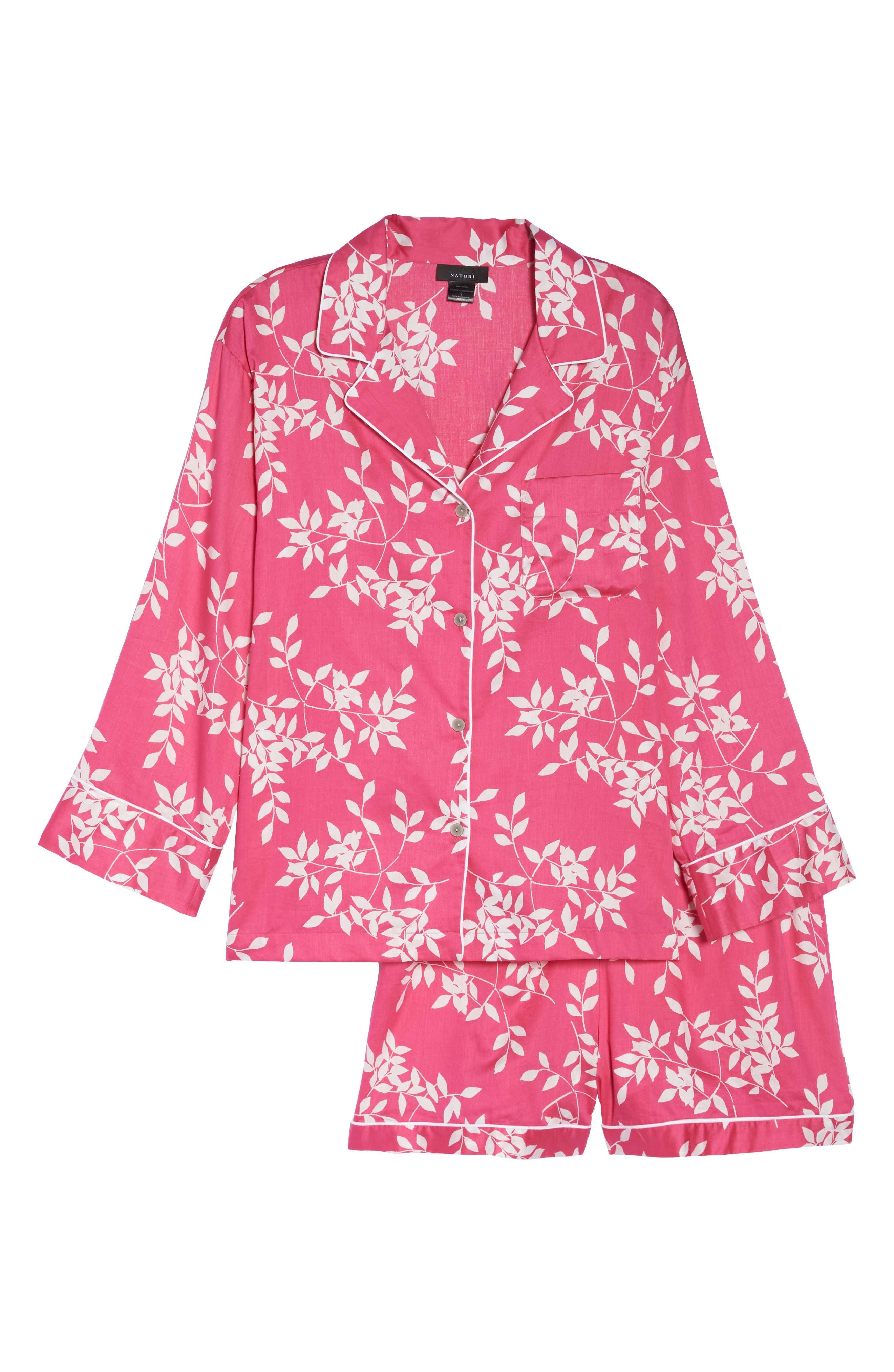 Branch Print Cotton Sateen Short Pajamas,                             Alternate thumbnail 4, color,                             Hibiscus Pink