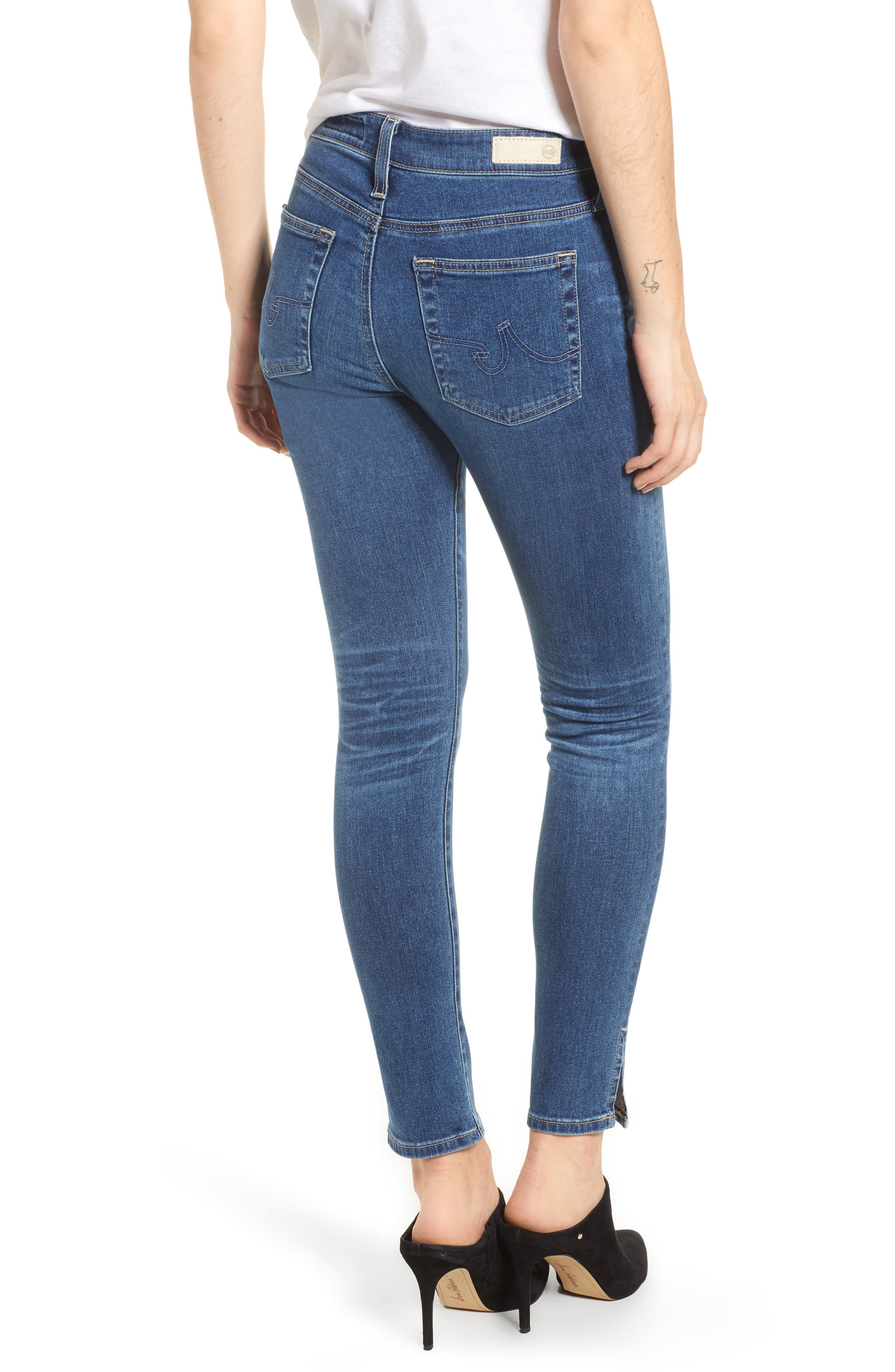 Farrah High Waist Split Hem Skinny Jeans,                             Alternate thumbnail 2, color,                             10 Years Cambria