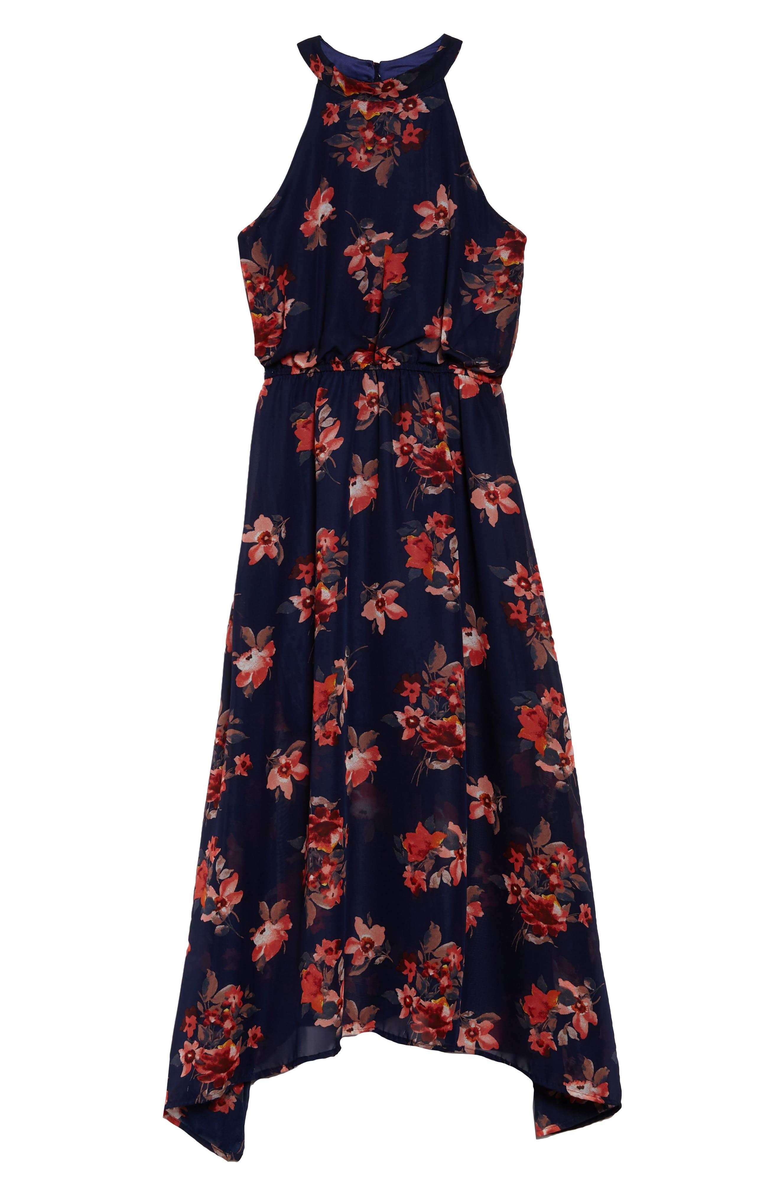 Print Maxi Dress,                         Main,                         color, Navy Multi
