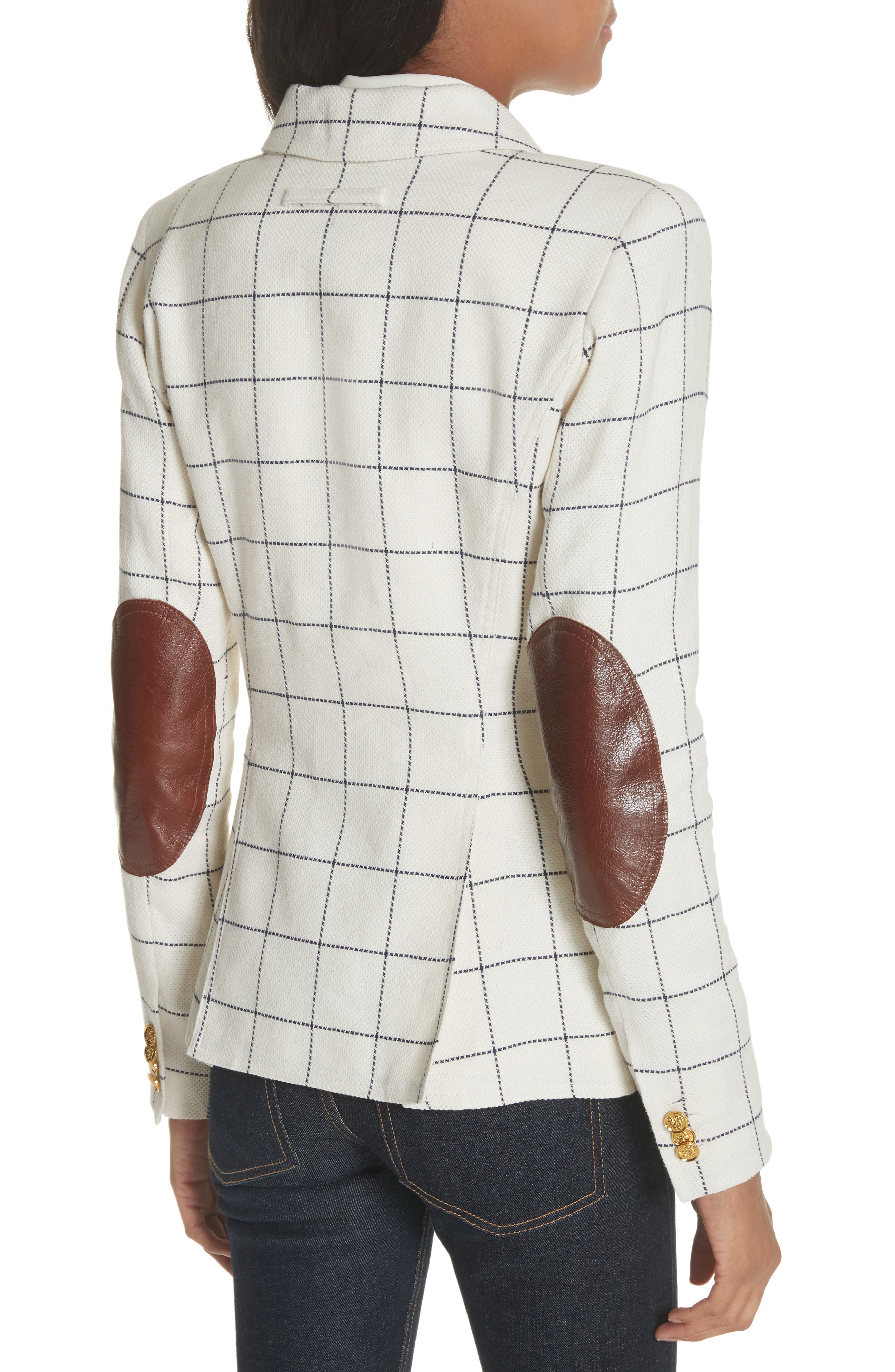 Duchess Elbow Patch Linen Blend Blazer,                             Alternate thumbnail 2, color,                             Gatsby Windowpane