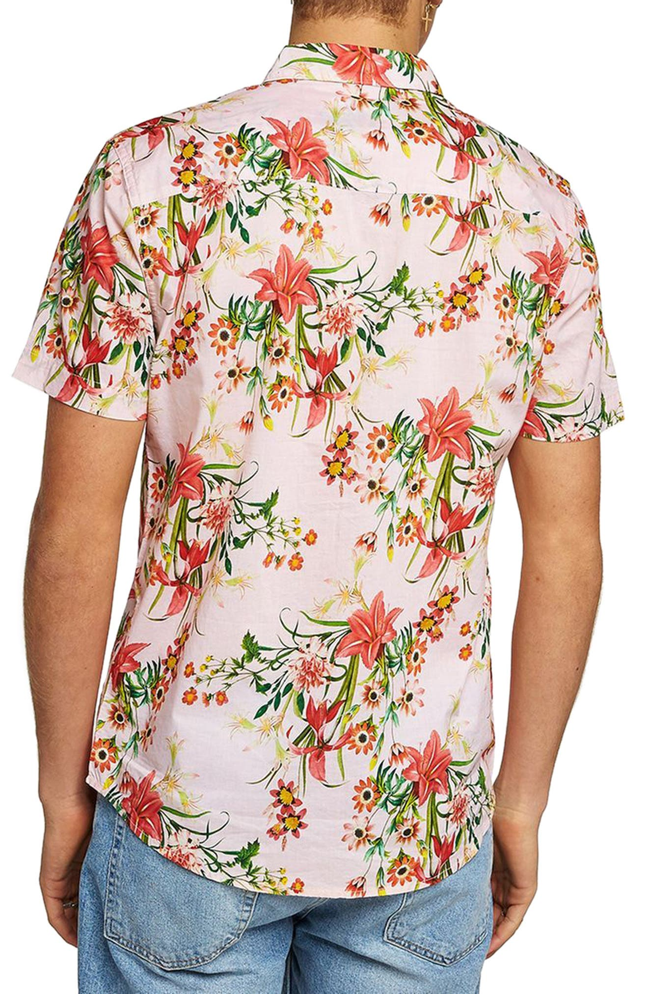 Classic Fit Floral Woven Shirt,                             Alternate thumbnail 3, color,                             Pink Multi
