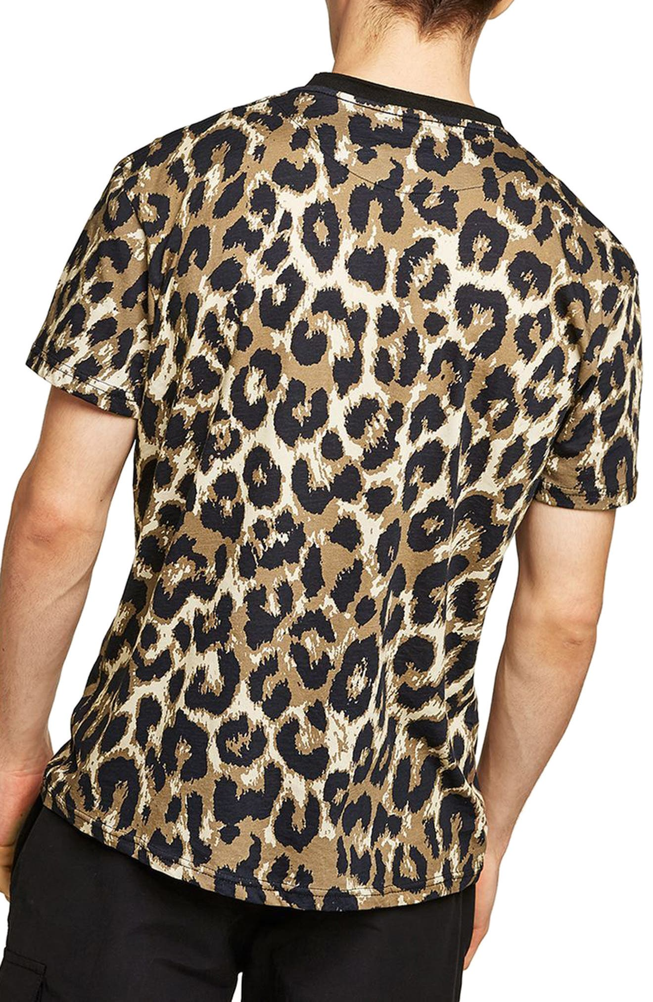 Classic Fit Leopard Print T-Shirt,                             Alternate thumbnail 2, color,                             Brown Multi