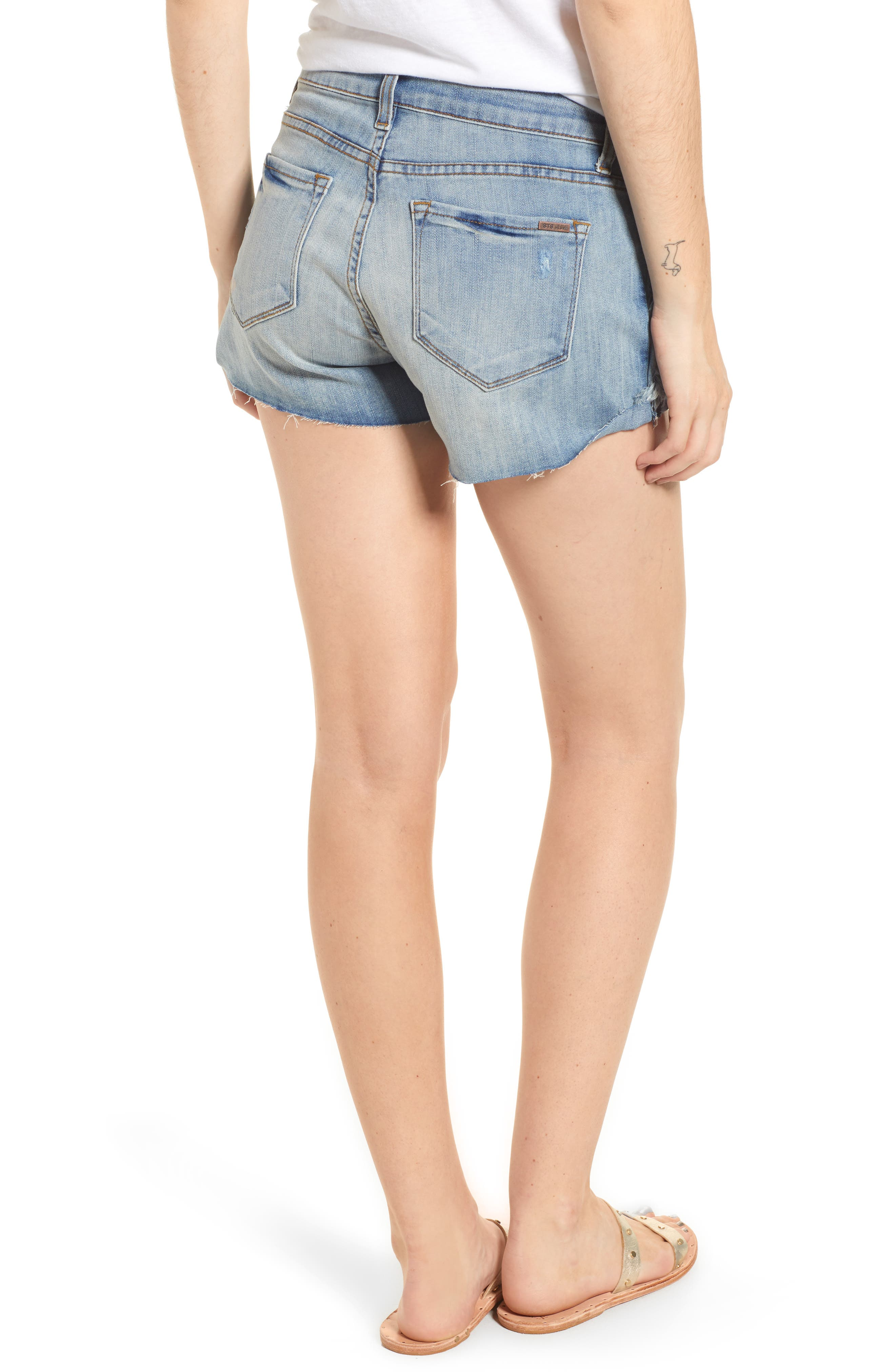 Fray Outseam Denim Shorts,                             Alternate thumbnail 2, color,                             Medium Wash