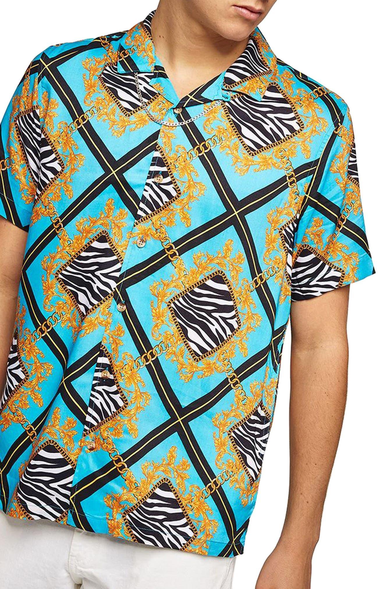 Baroque Zebra Print Shirt,                             Main thumbnail 1, color,                             Blue