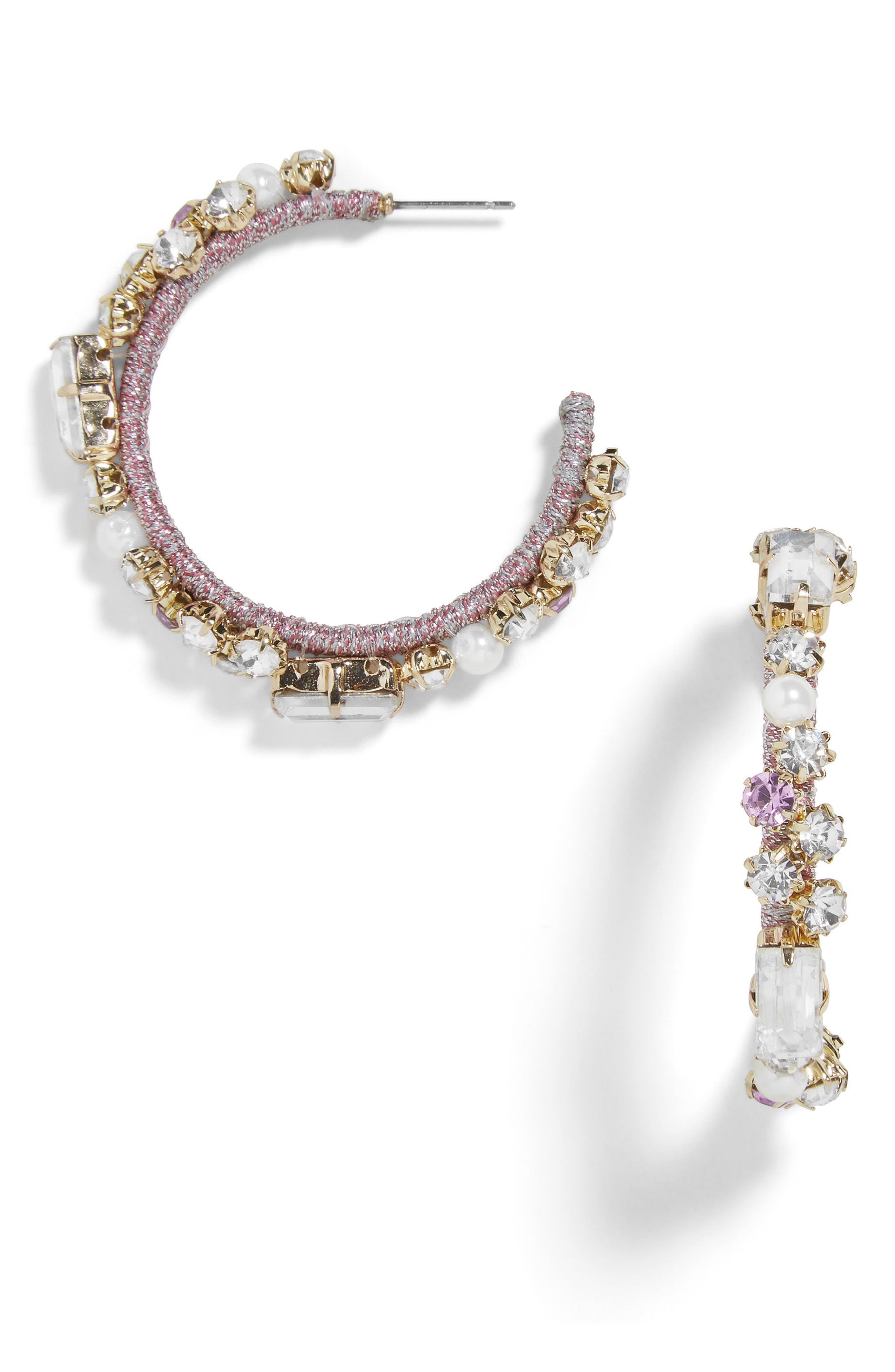 Elysian Hoop Earrings,                         Main,                         color, Purple
