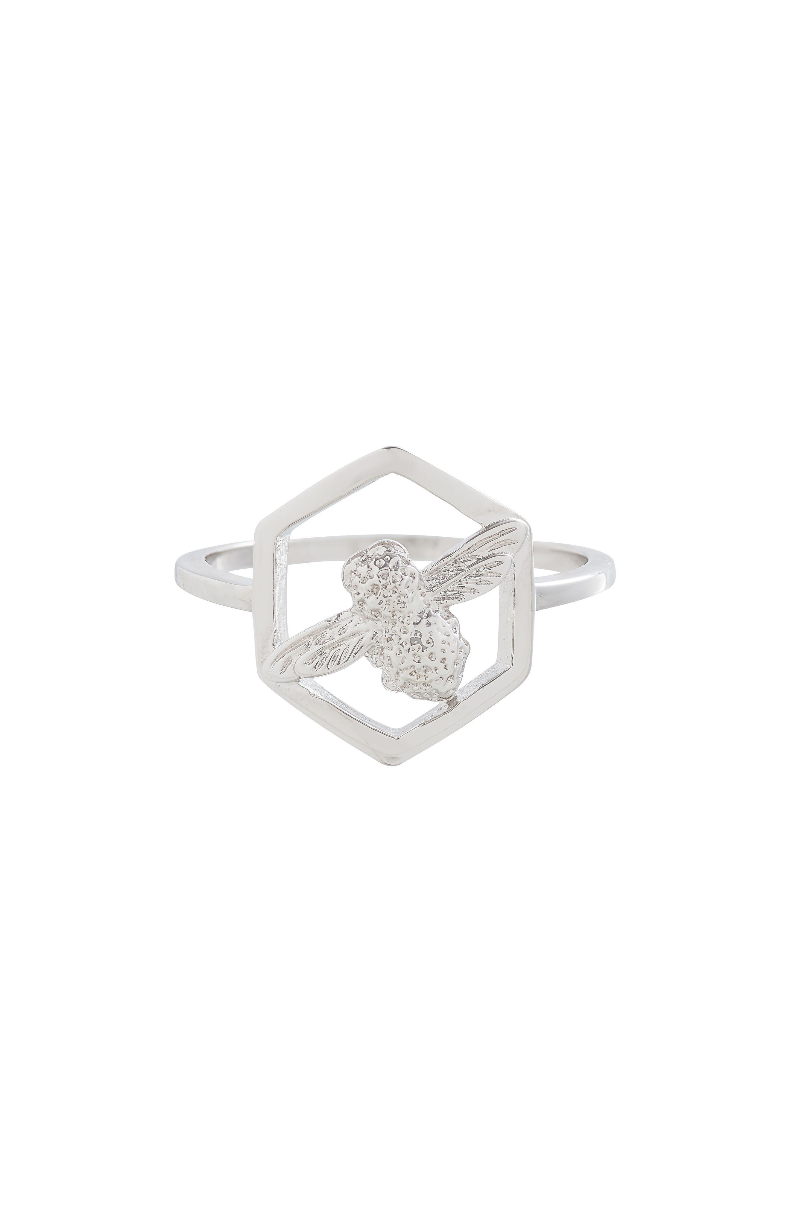 Honeycomb Bee Ring,                             Main thumbnail 1, color,                             Silver