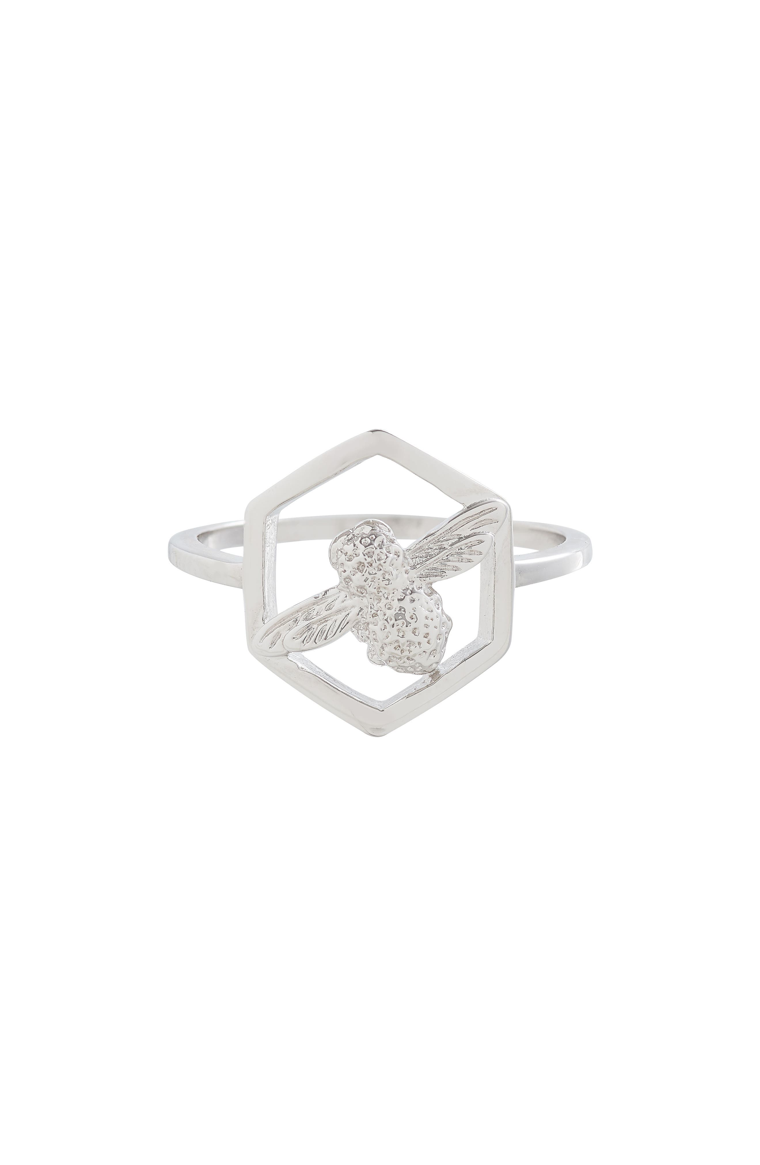 Honeycomb Bee Ring,                         Main,                         color, Silver