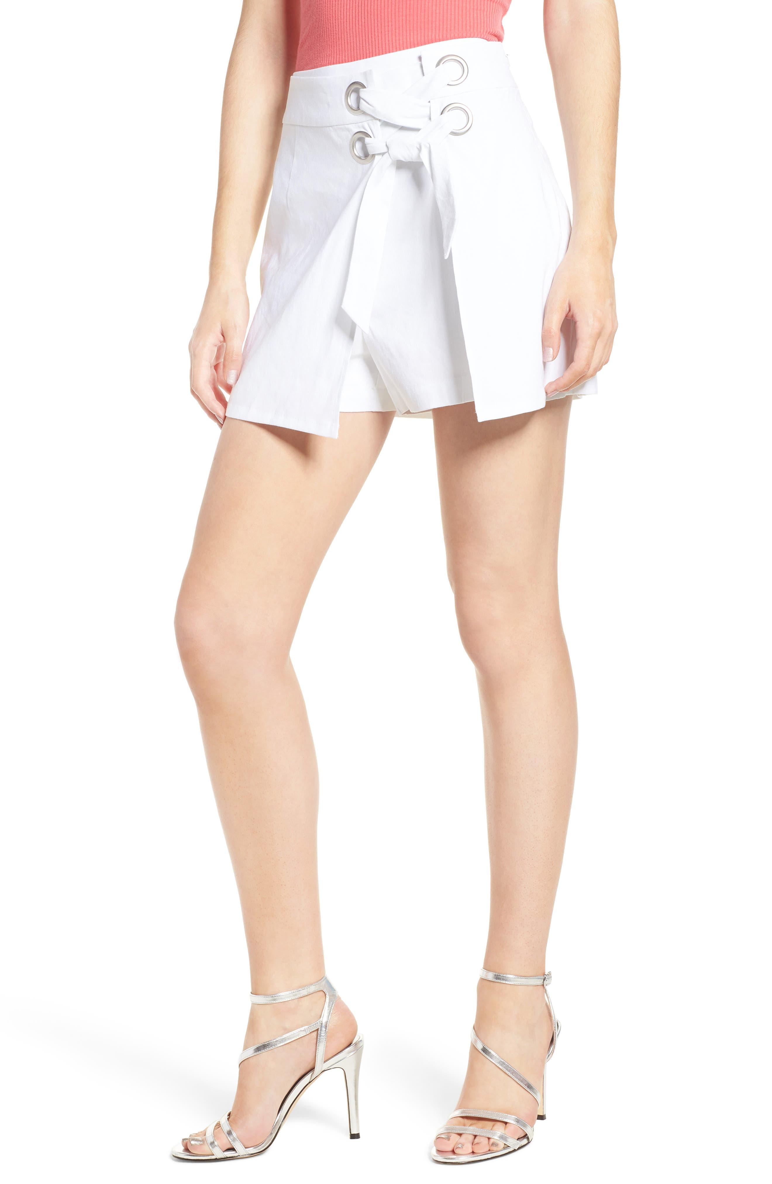 Lace-Up Linen Blend Skort,                             Main thumbnail 1, color,                             White