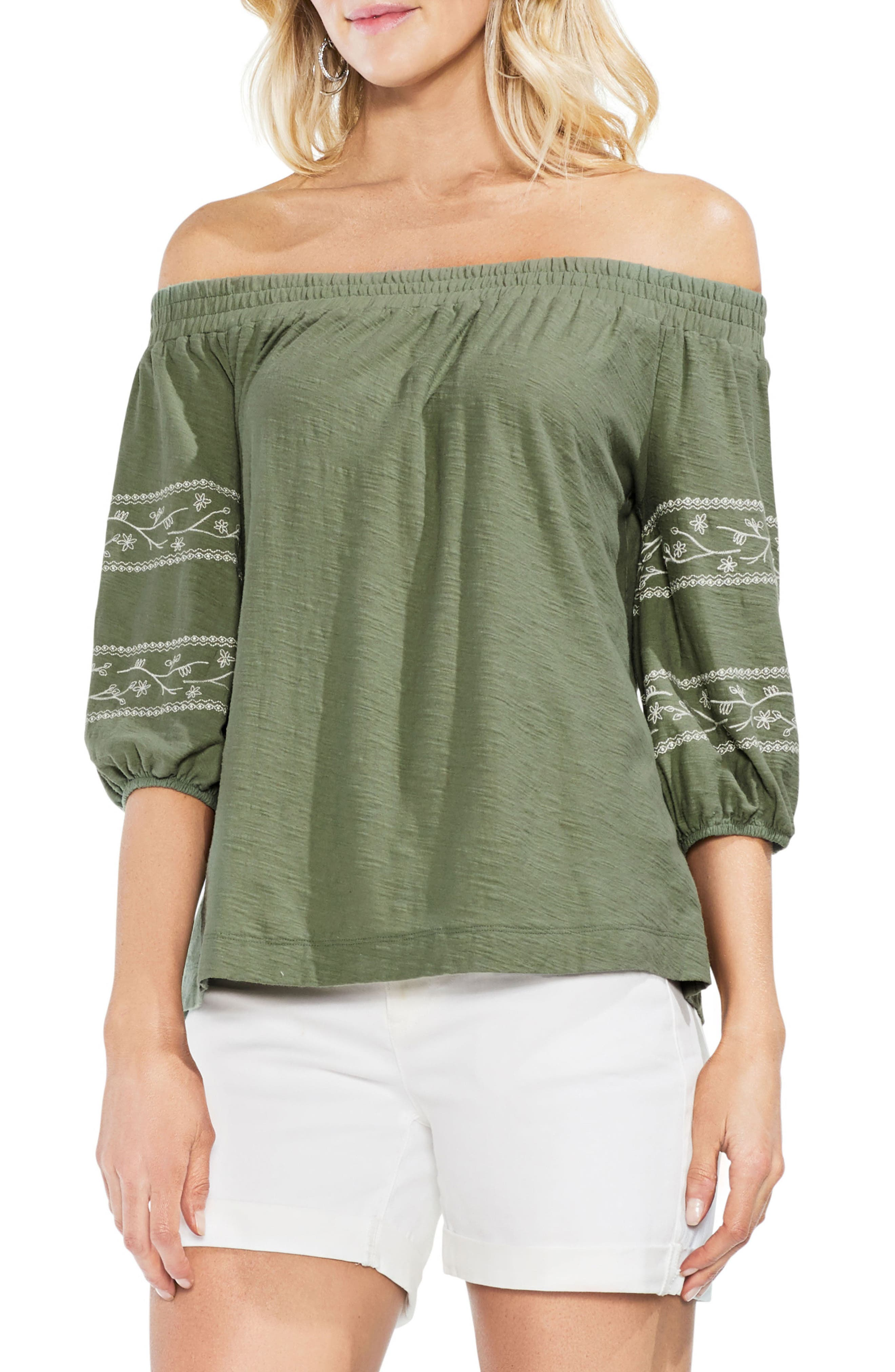 Embroidered Off the Shoulder Top,                             Main thumbnail 1, color,                             Canopy Green