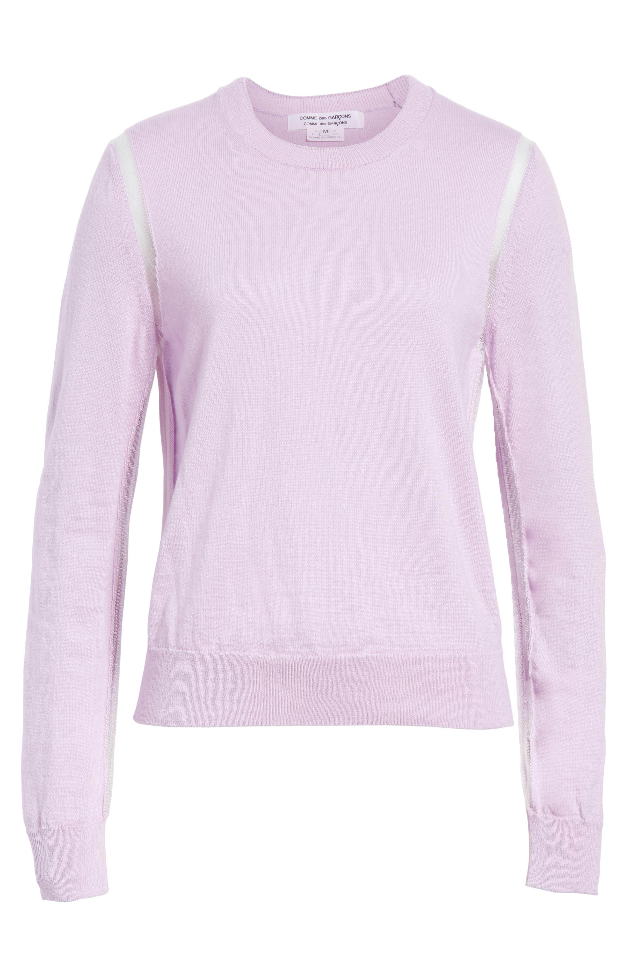Sheer Panel Crewneck Sweater,                             Alternate thumbnail 7, color,                             Purple