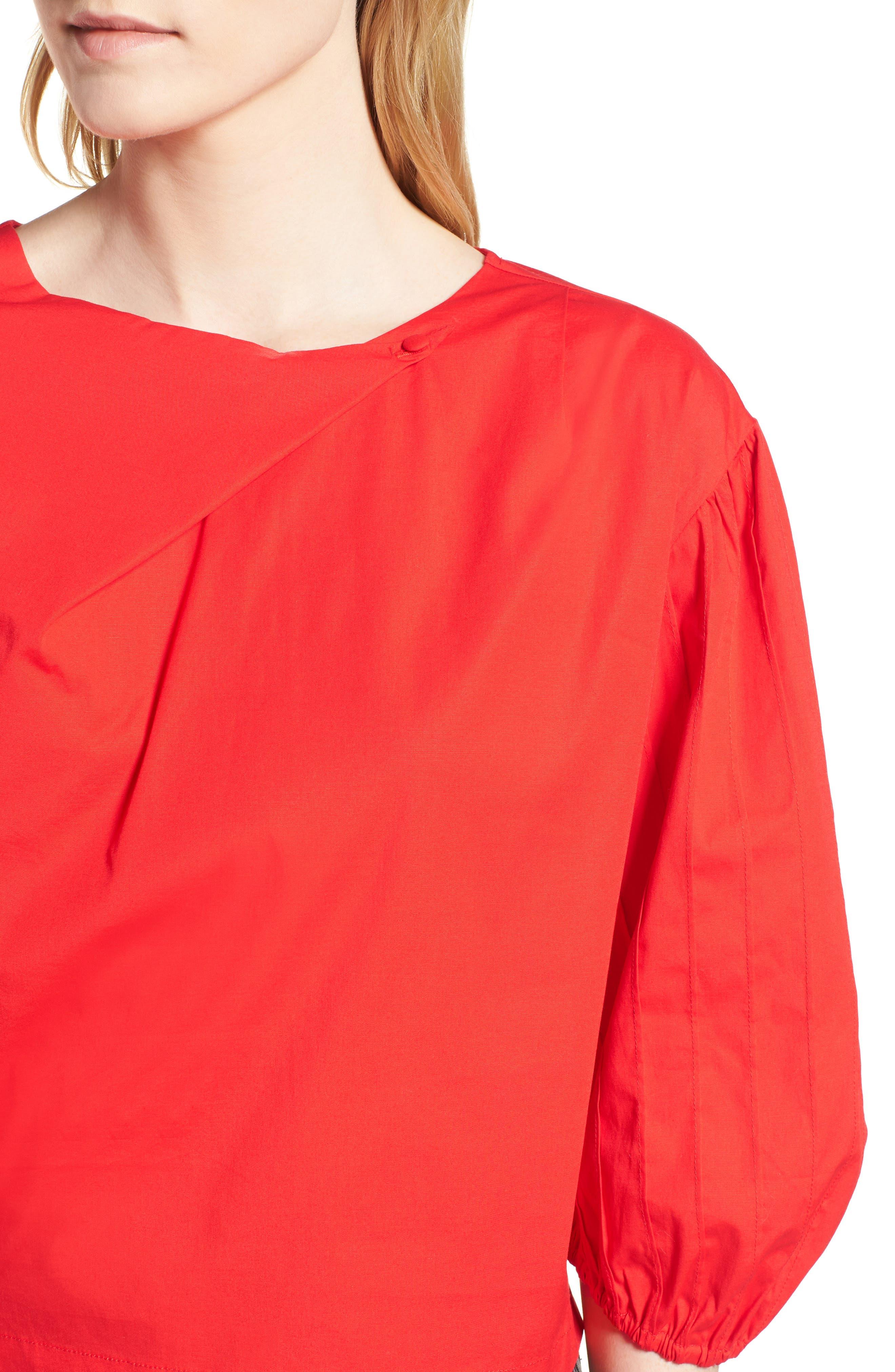 Leah Blouson Sleeve Top,                             Alternate thumbnail 4, color,                             Fiery Red