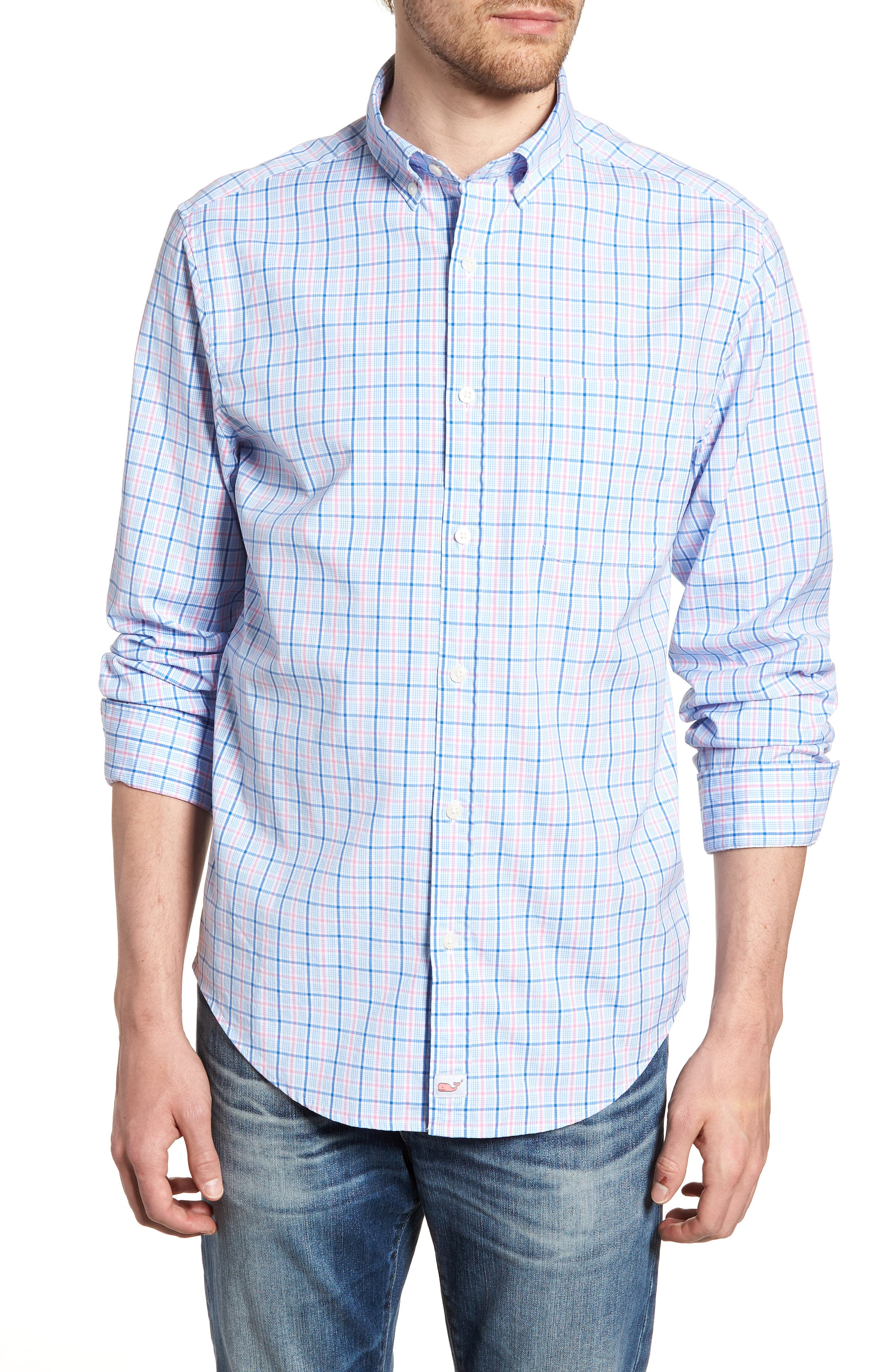 Sir Christie Classic Fit Check Sport Shirt,                         Main,                         color, Spinnaker