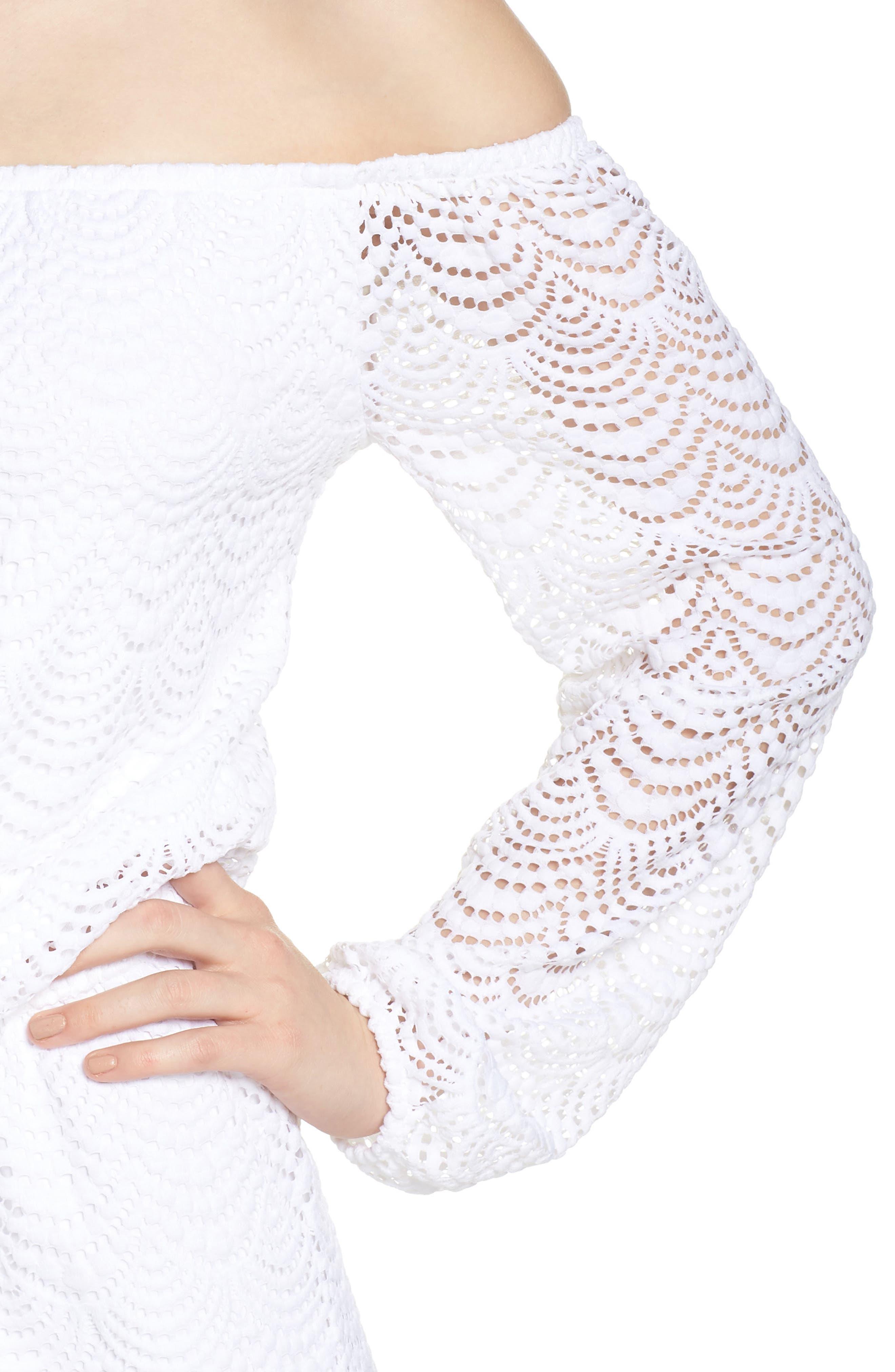 Lana Off the Shoulder Romper,                             Alternate thumbnail 4, color,                             Resort White Scalloped Shell