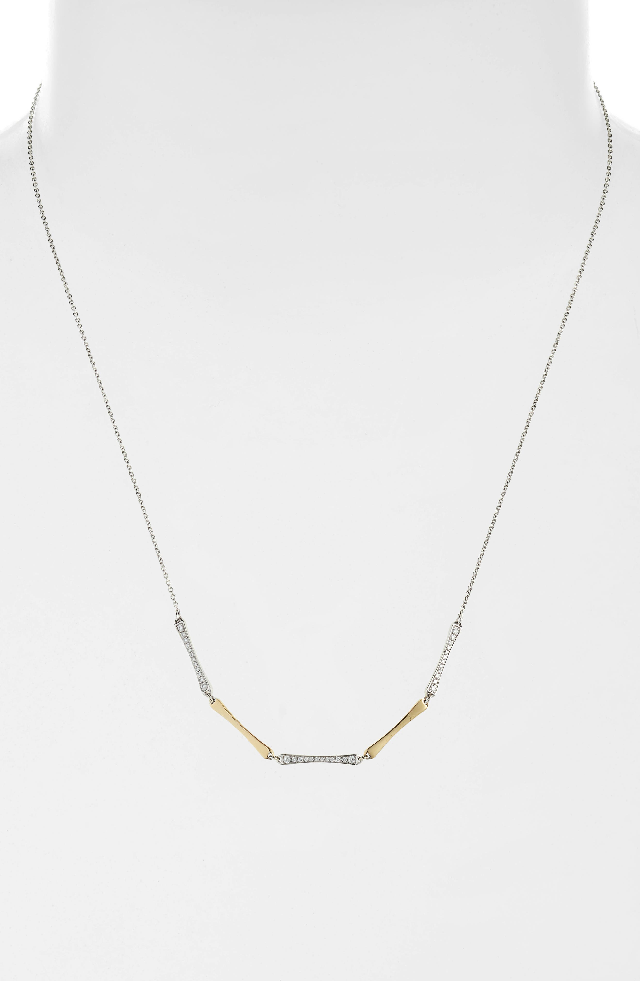 5-Station Bar Necklace with Diamonds,                             Main thumbnail 1, color,                             Yellow Gold/ White Gold